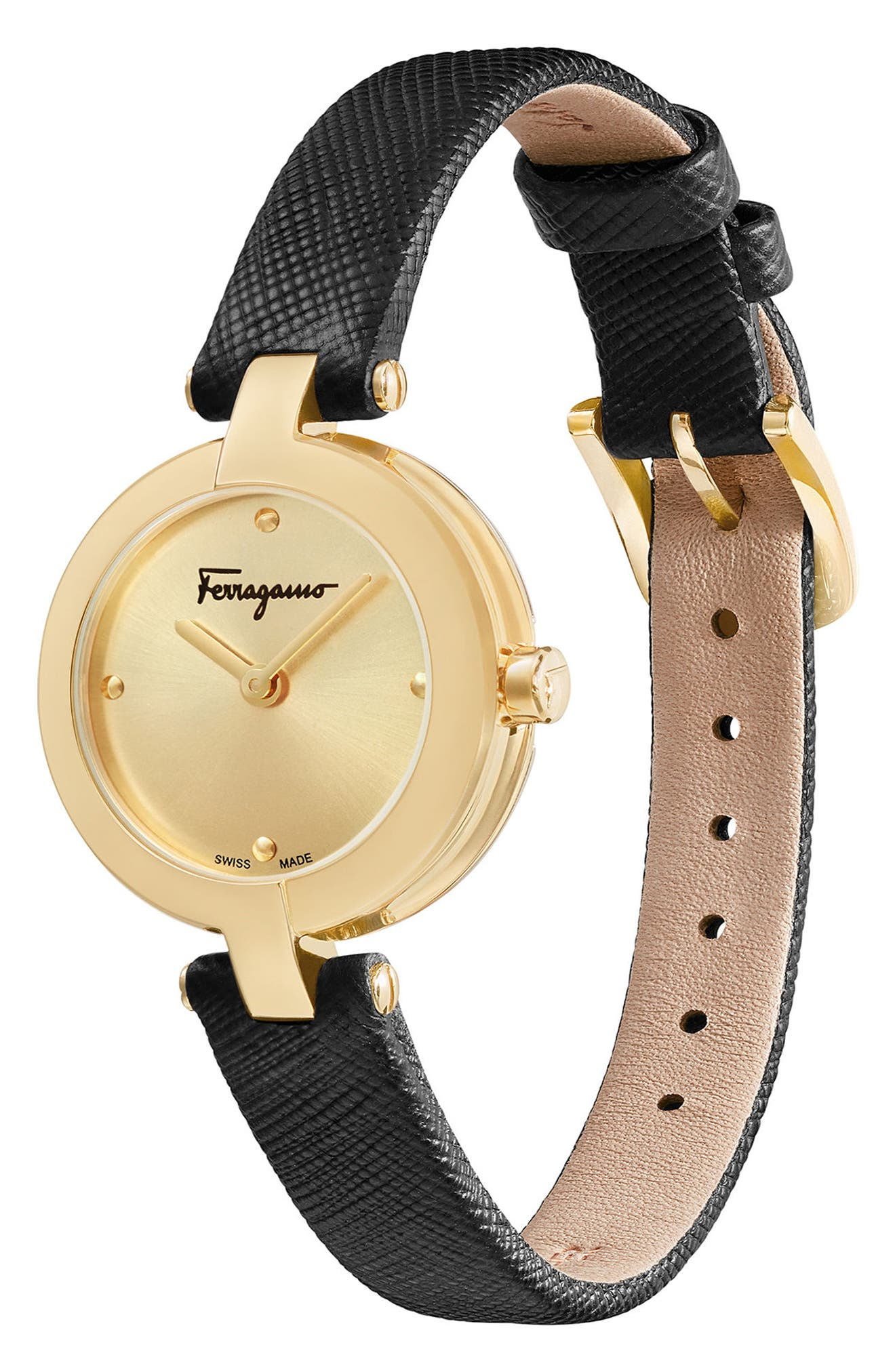 Miniature Leather Strap Watch, 26mm,                             Alternate thumbnail 4, color,                             Black/ Gold