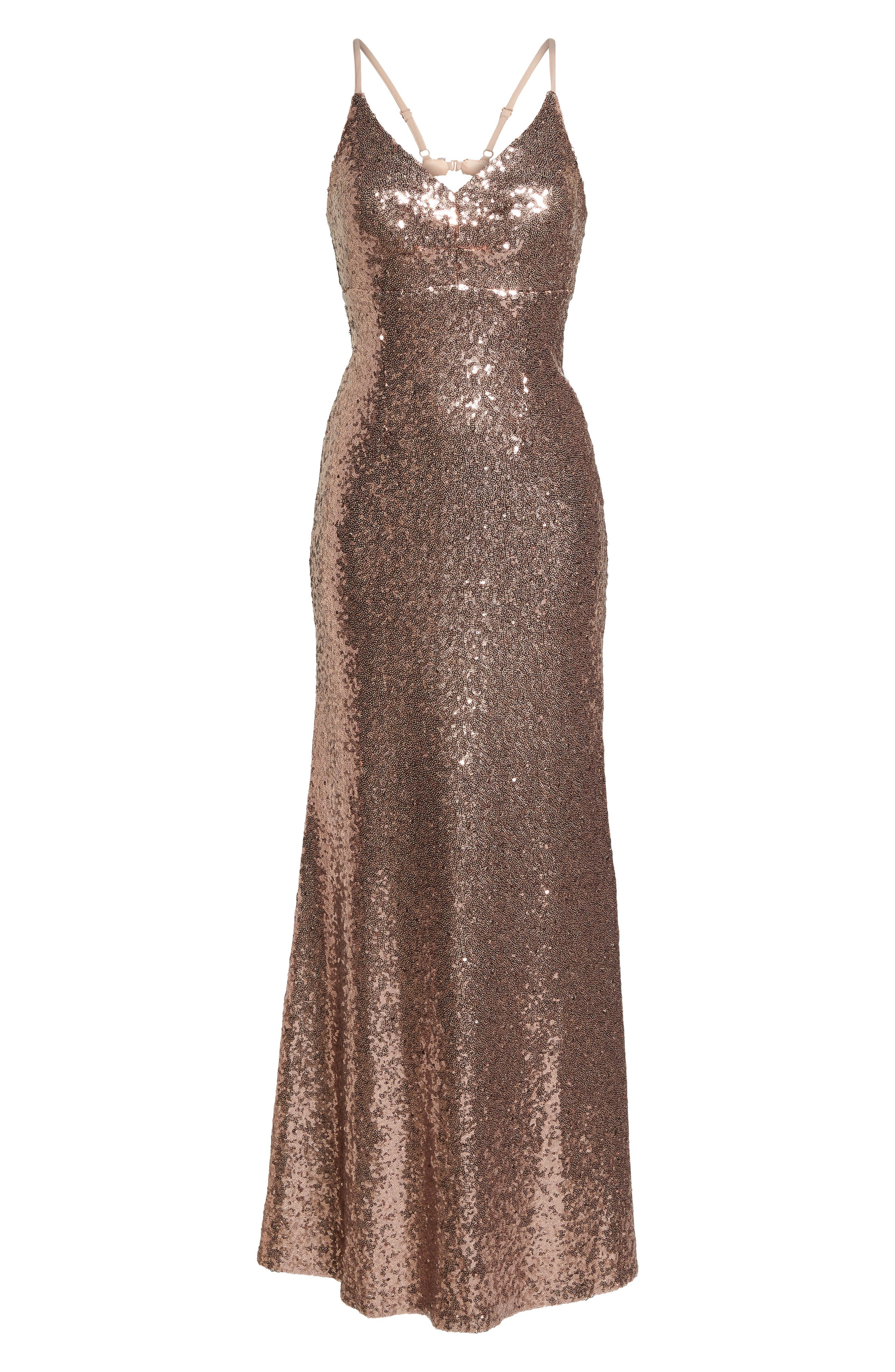 Keyhole Back Sequin Gown,                             Main thumbnail 1, color,                             Rose/ Gold