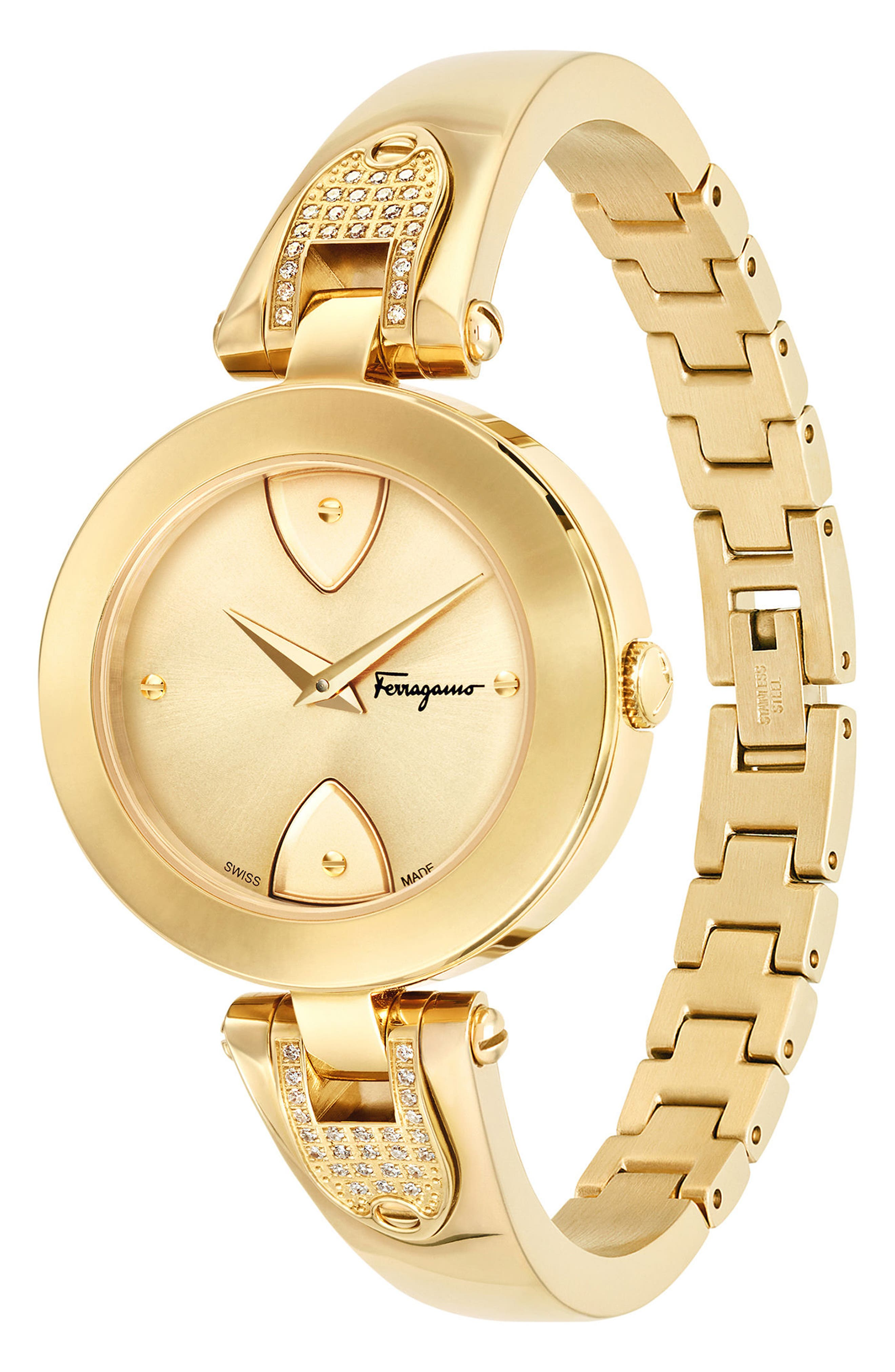 Gilion Diamond Bangle Watch, 32mm,                             Alternate thumbnail 3, color,                             Gold