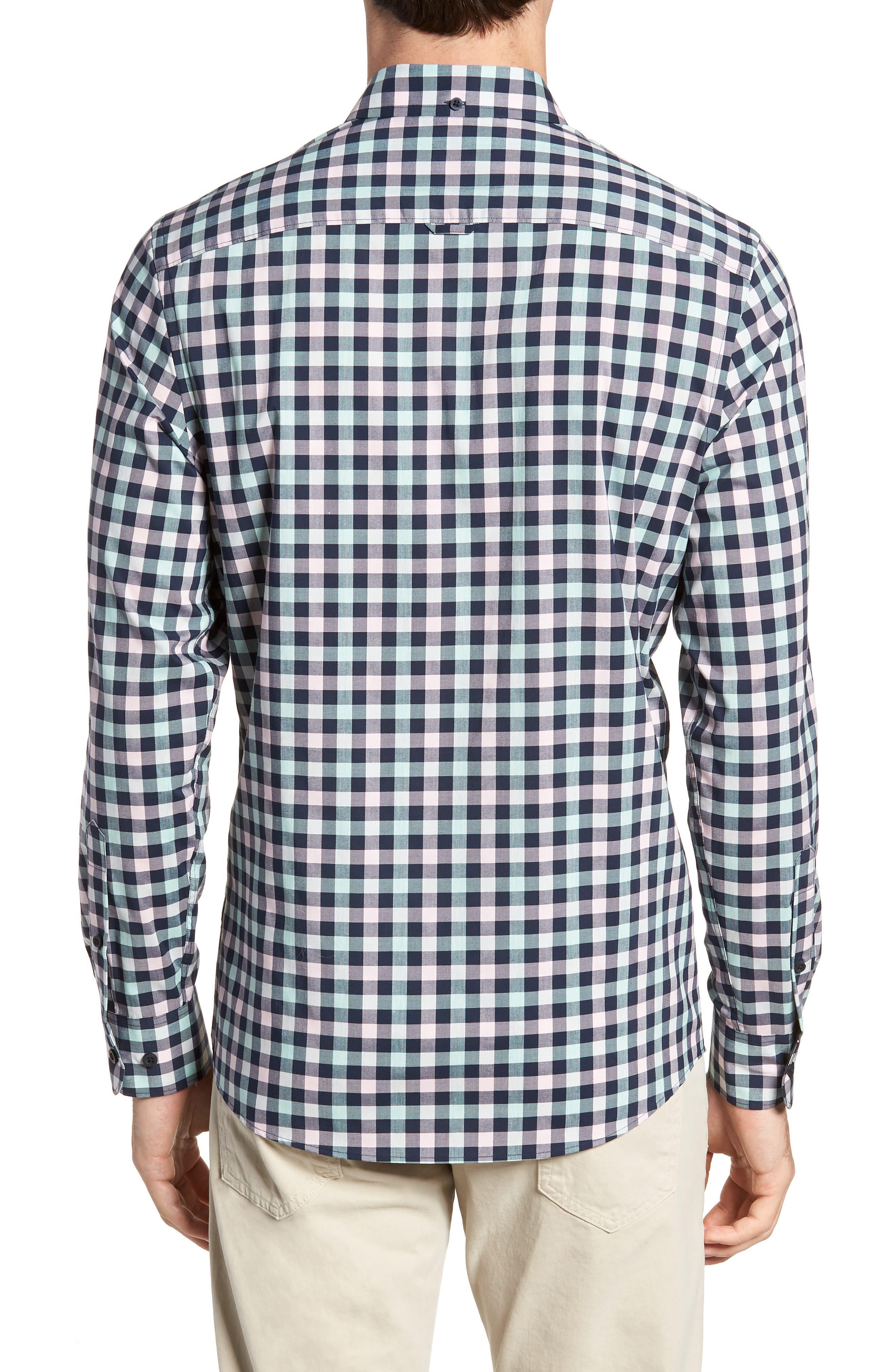 Tech-Smart Trim Fit Check Sport Shirt,                             Alternate thumbnail 3, color,                             Navy Iris Teal Check