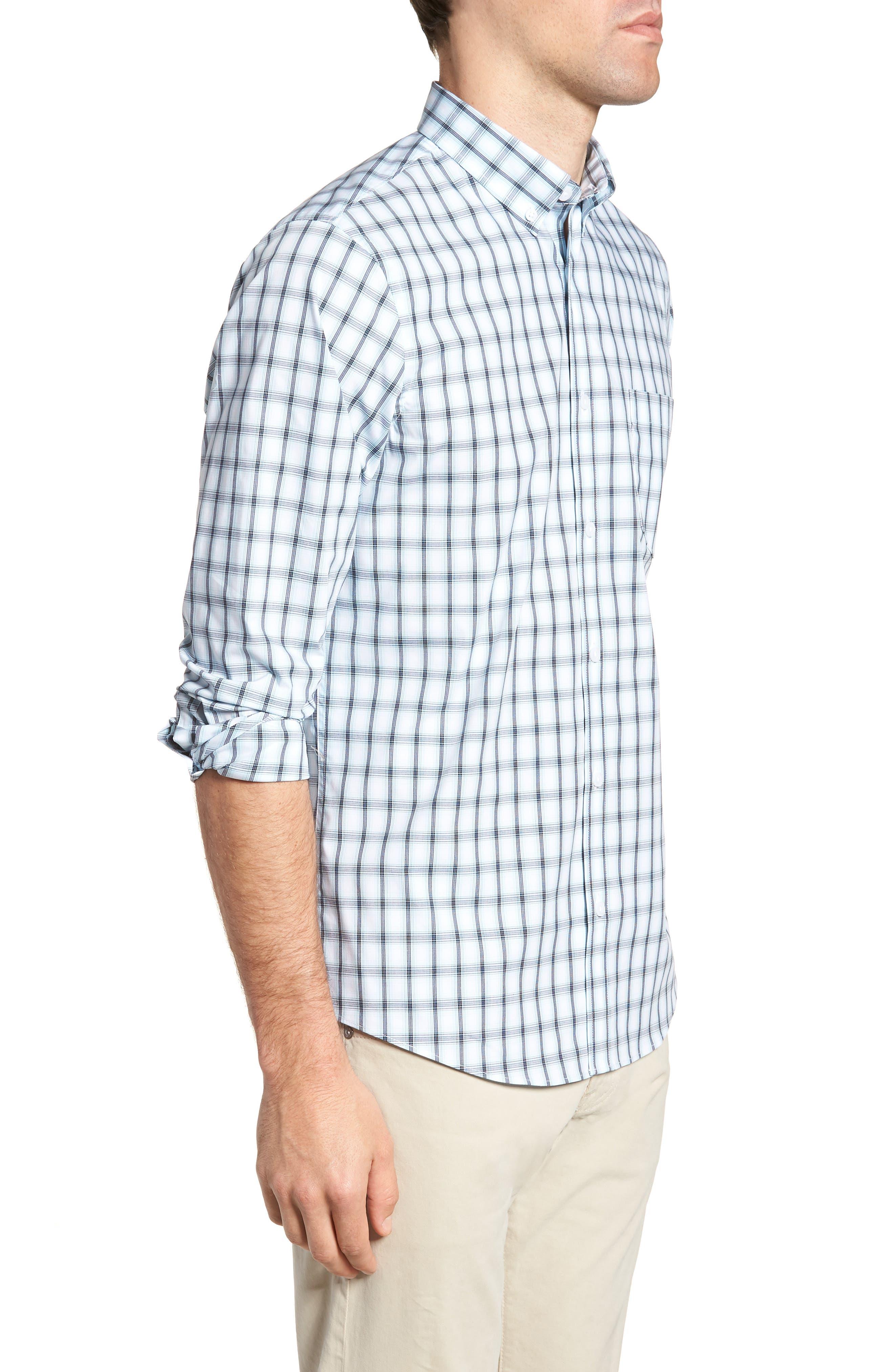 Tech-Smart Regular Fit Check Sport Shirt,                             Alternate thumbnail 4, color,                             Blue Orydalis Ombre Check