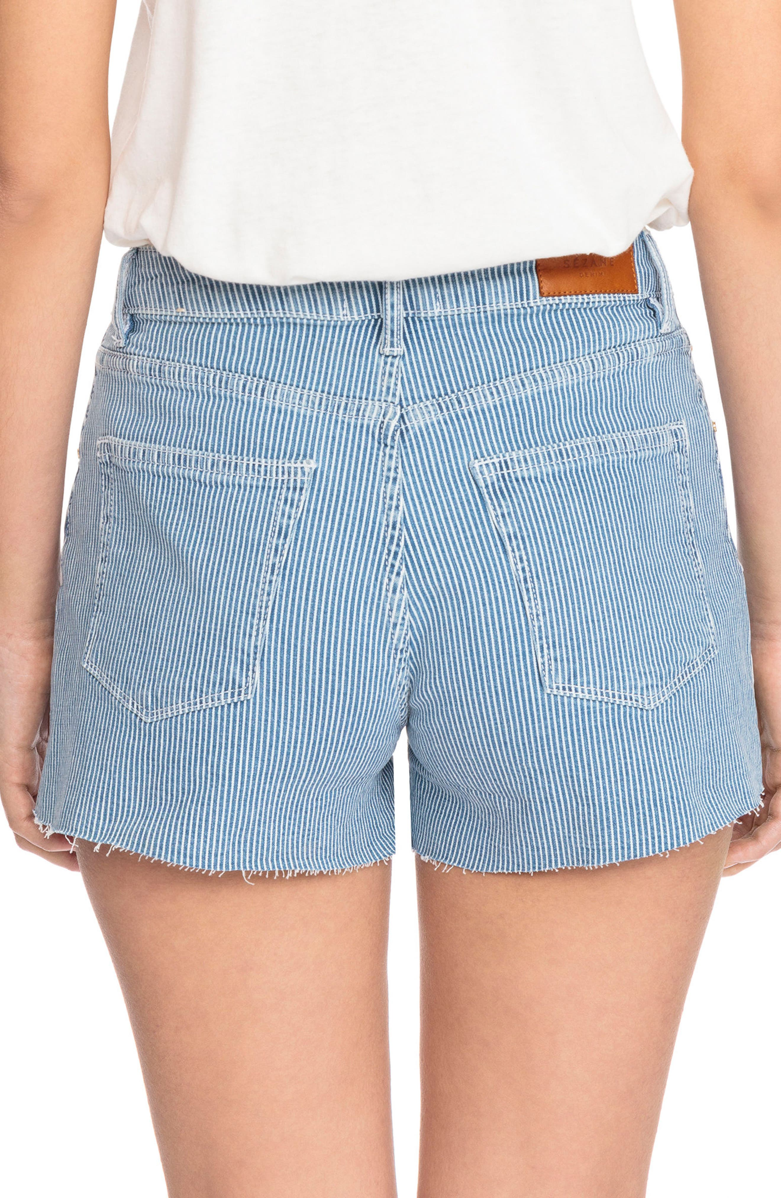 1968 Stripe Cutoff Denim Shorts,                             Alternate thumbnail 2, color,                             Off White And Blue Stripes