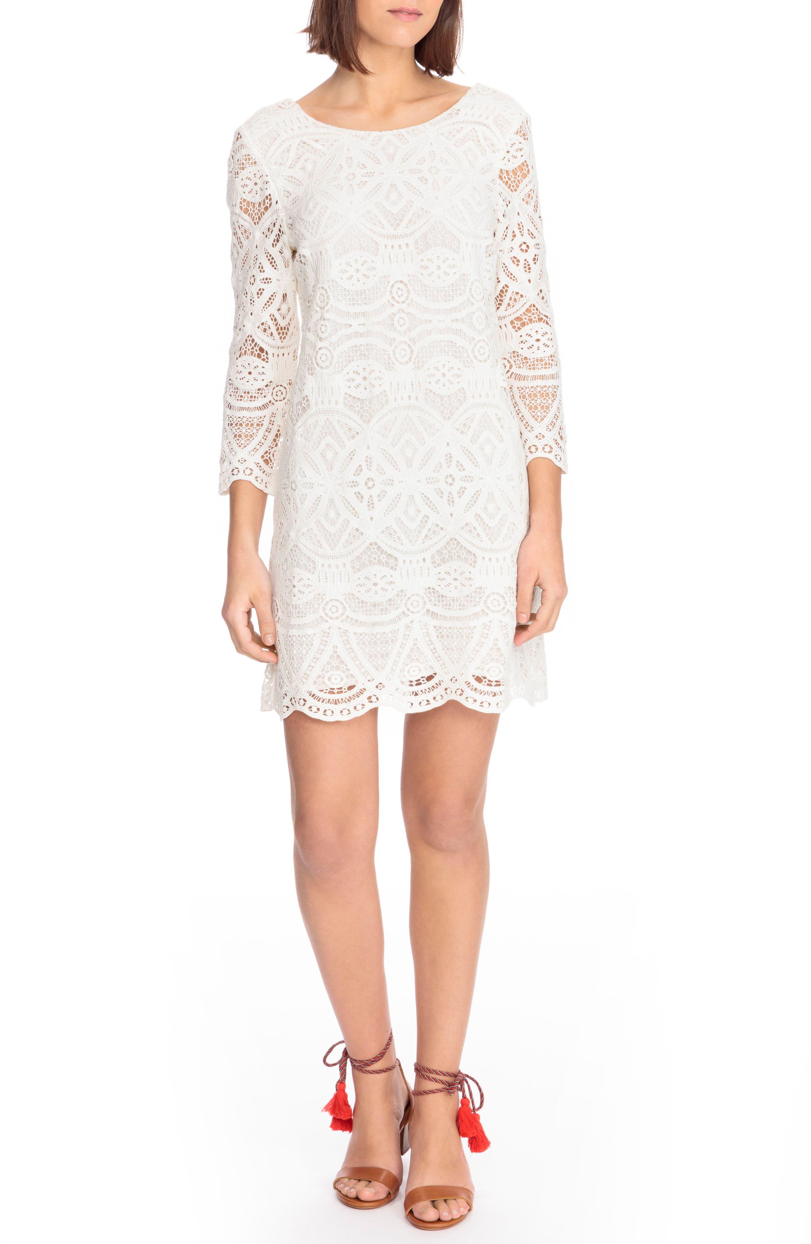 Sarah Lace Shift Dress,                         Main,                         color, Off White