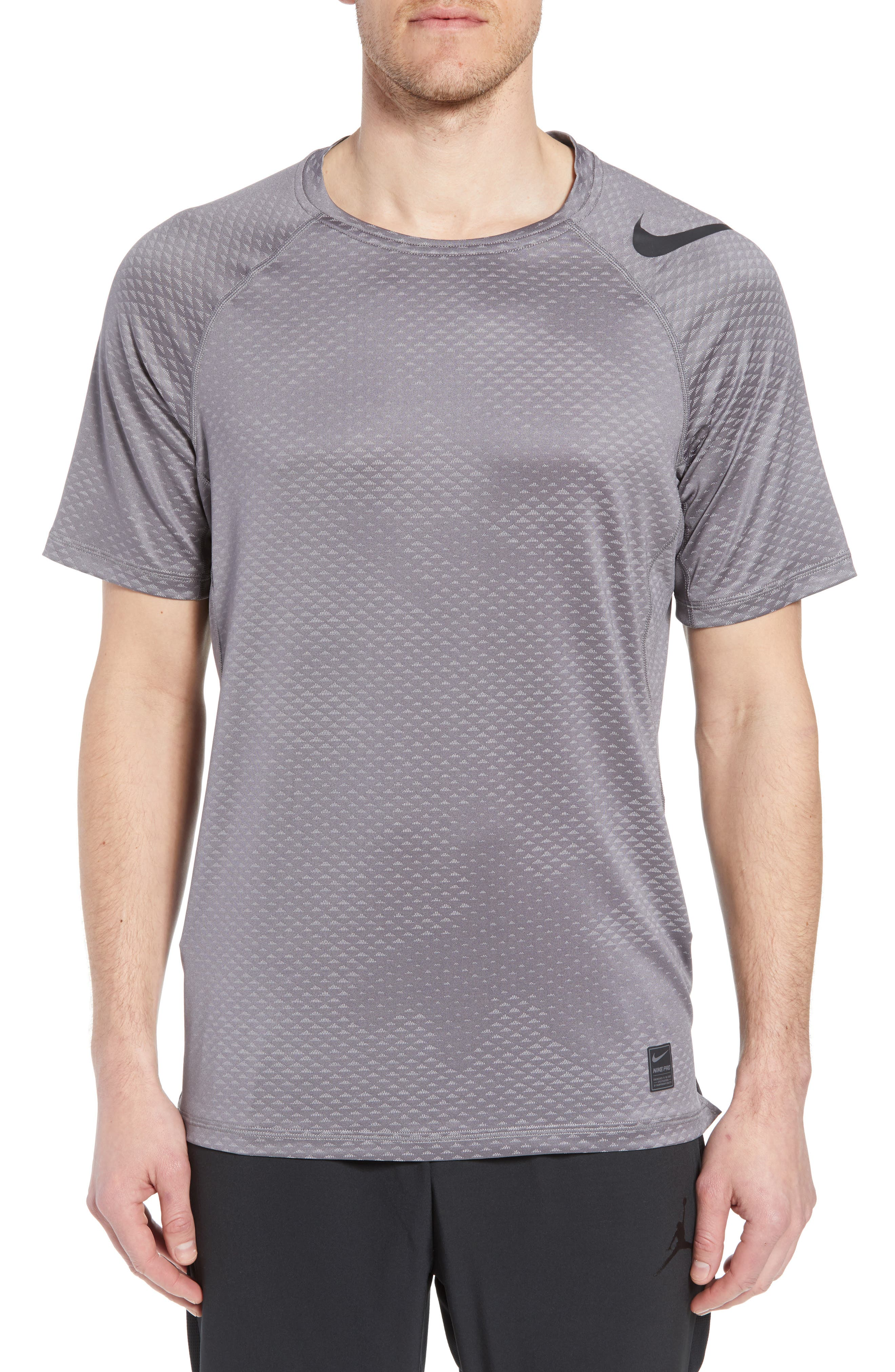 Pro HyperCool Fitted Crewneck T-Shirt,                         Main,                         color, Atmosphere Grey/ Black