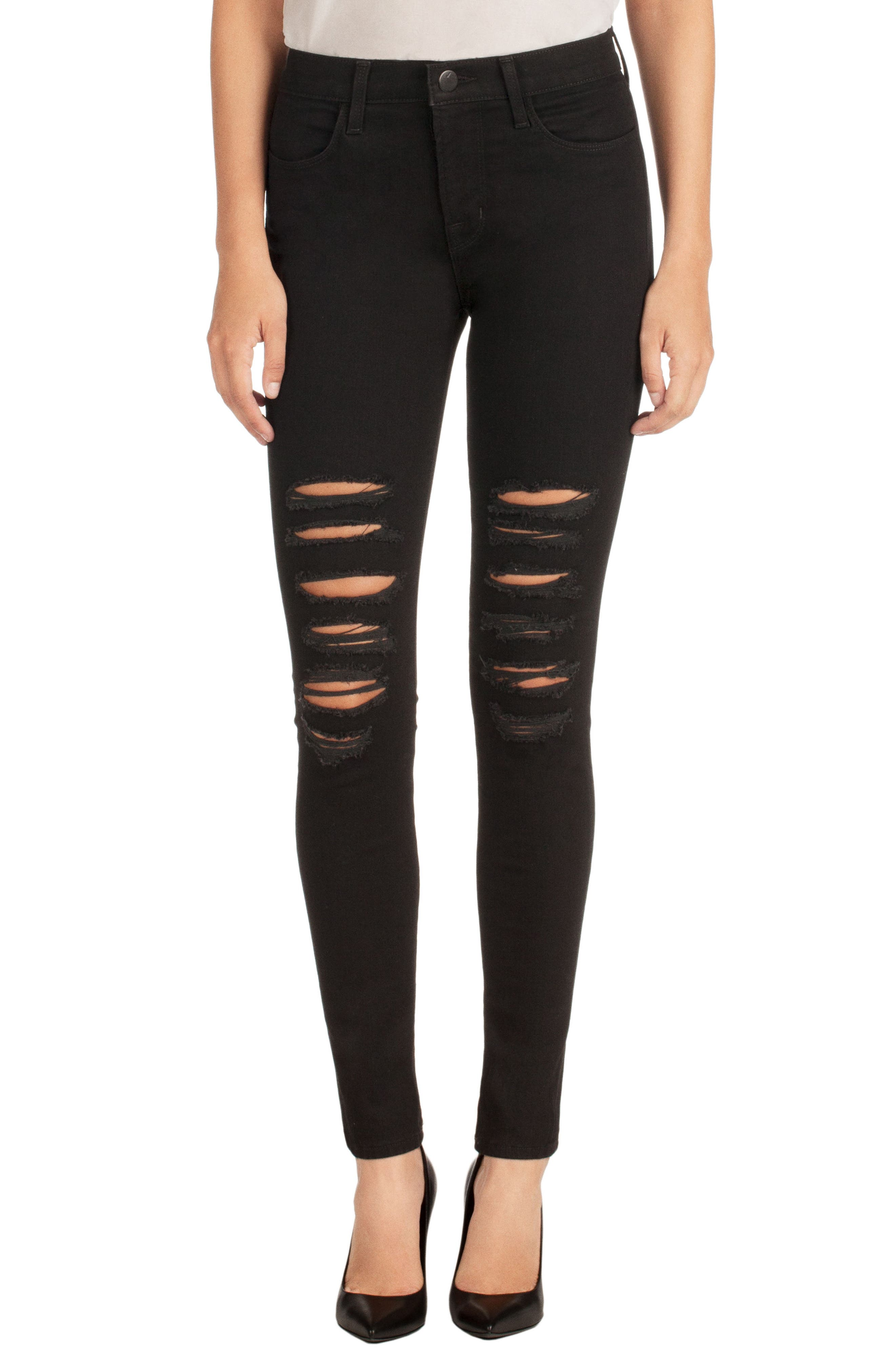 Main Image - J Brand Maria Ripped High Waist Skinny Jeans (Blk Heart)