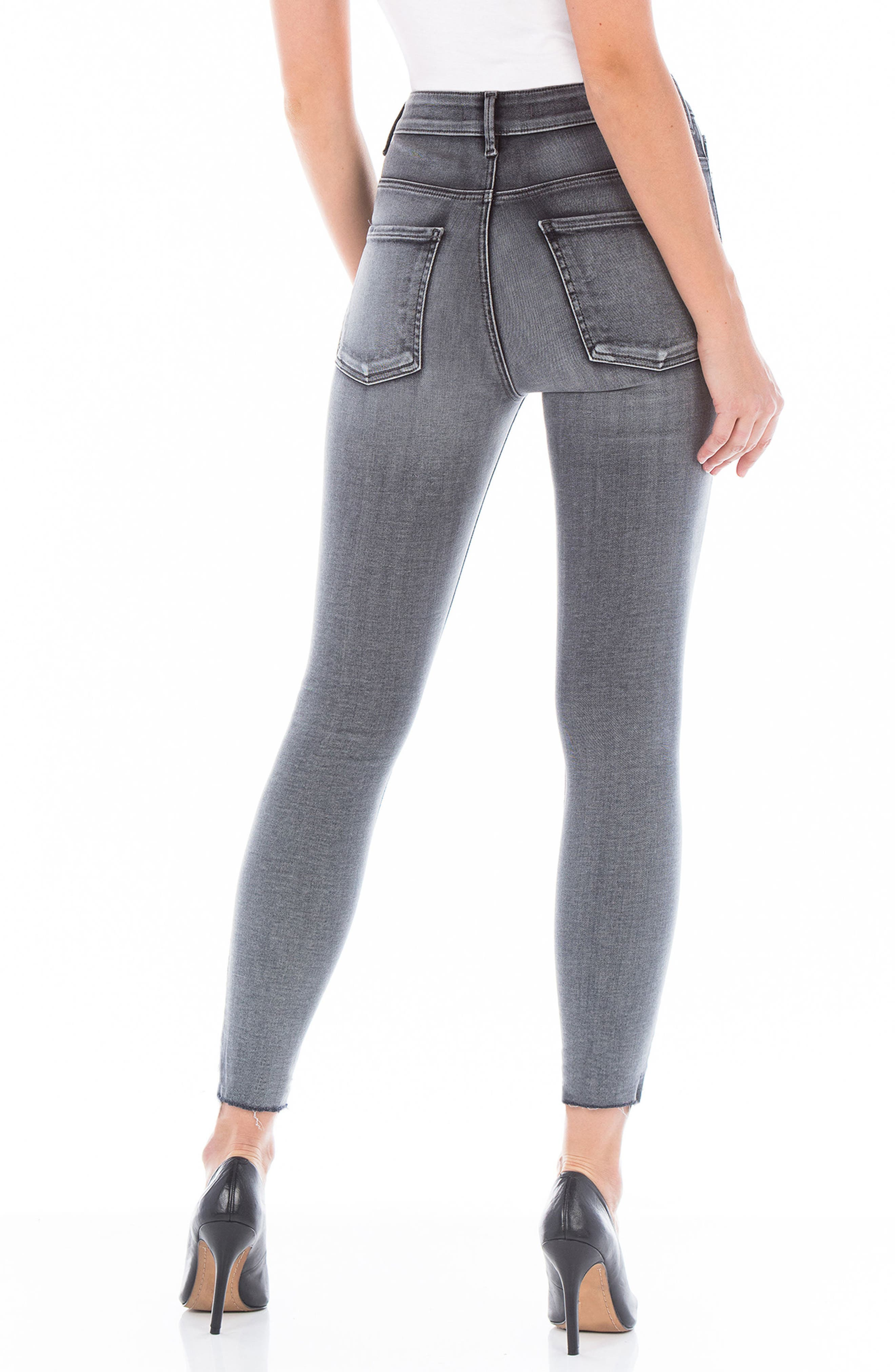 Alternate Image 2  - Fidelity Denim Luna High Waist Distressed Skinny Jeans (Wiseman)