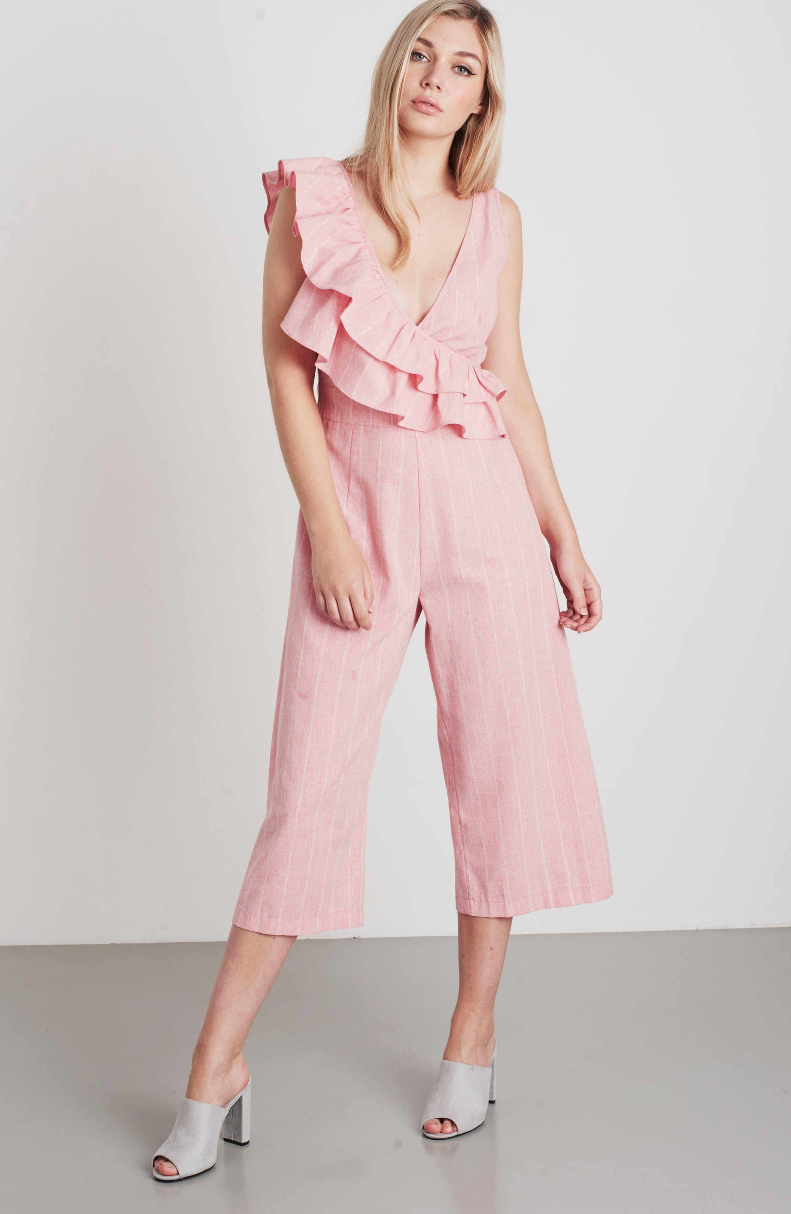 Frill Shoulder Stripe Jumpsuit,                             Alternate thumbnail 2, color,                             Pink