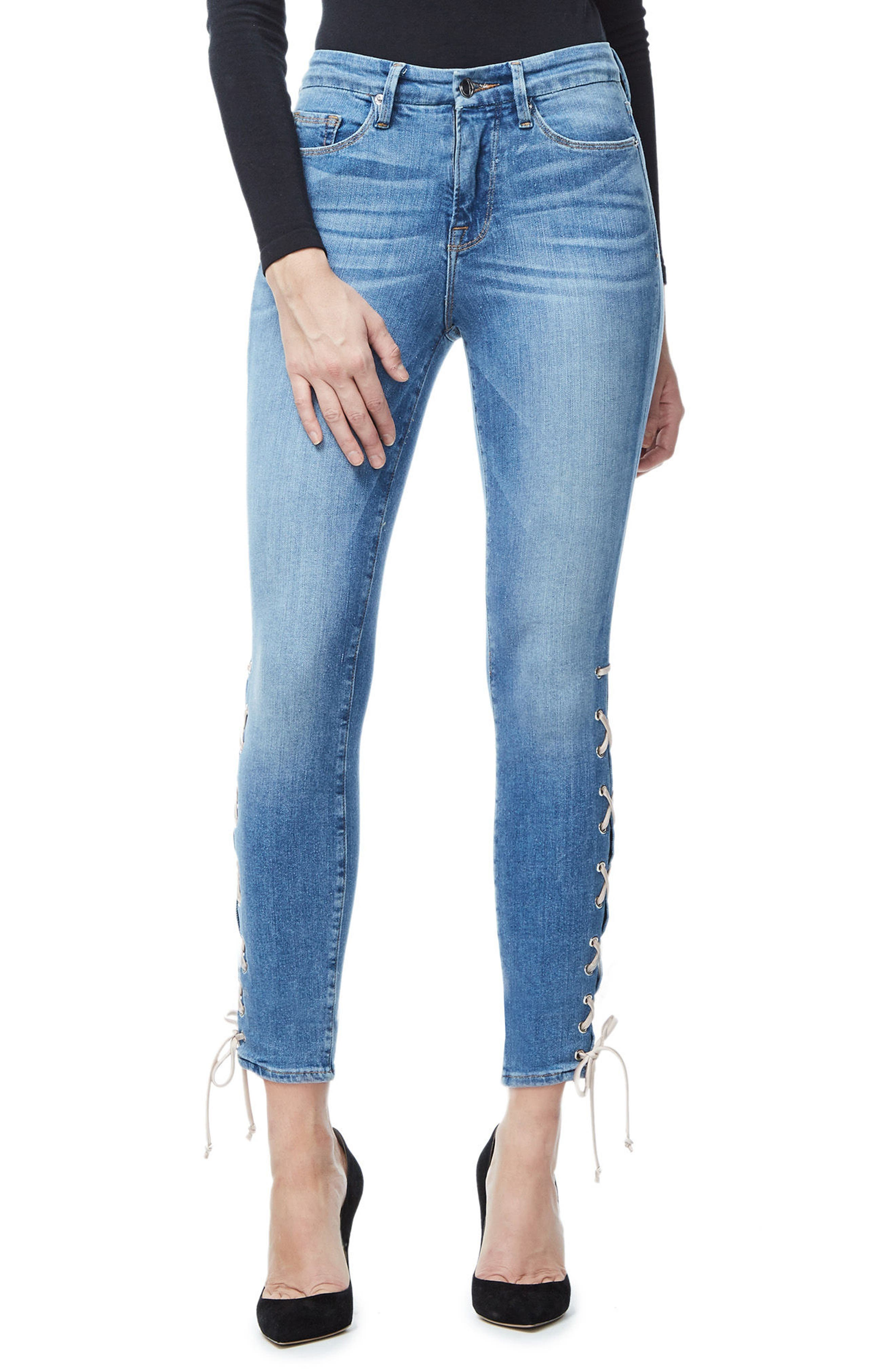 Good Legs Lace-Up High Waist Skinny Jeans,                             Main thumbnail 1, color,                             Blue045