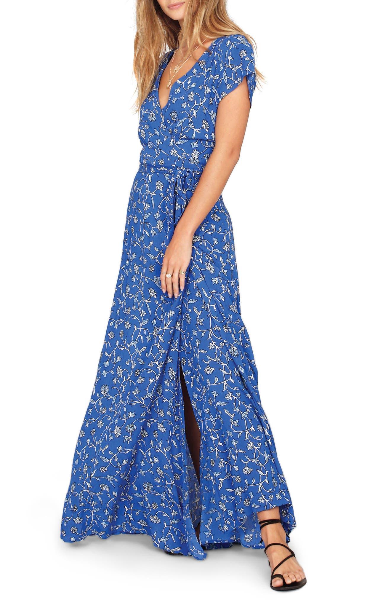 Summer Safari Wrap Dress,                             Alternate thumbnail 3, color,                             Blue Coast