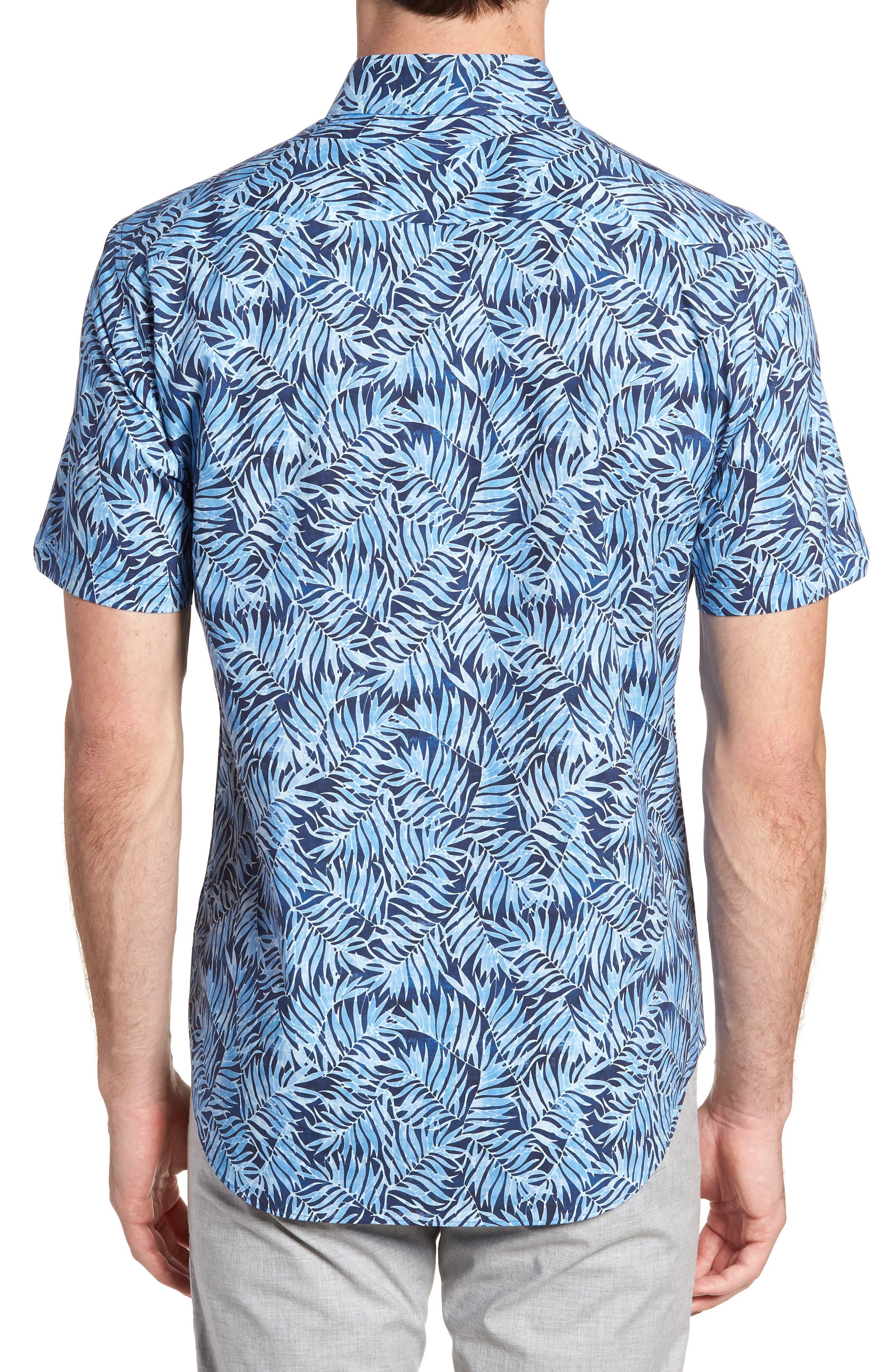 Slack Palm Print Sport Shirt,                             Alternate thumbnail 3, color,                             Navy