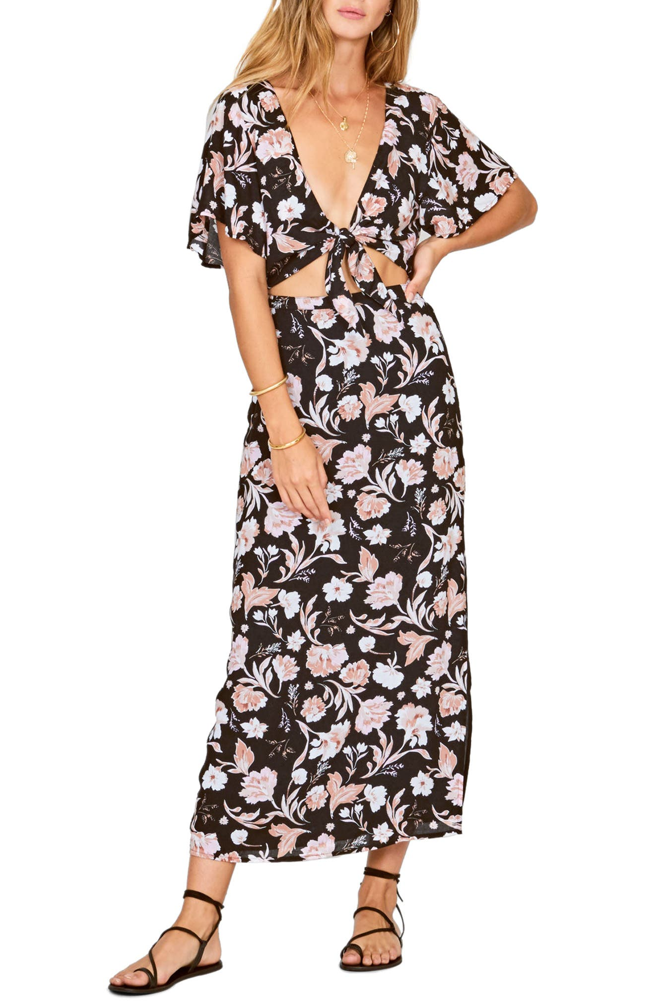 Bohemian Rhapsody Maxi Dress,                         Main,                         color, Black Sands