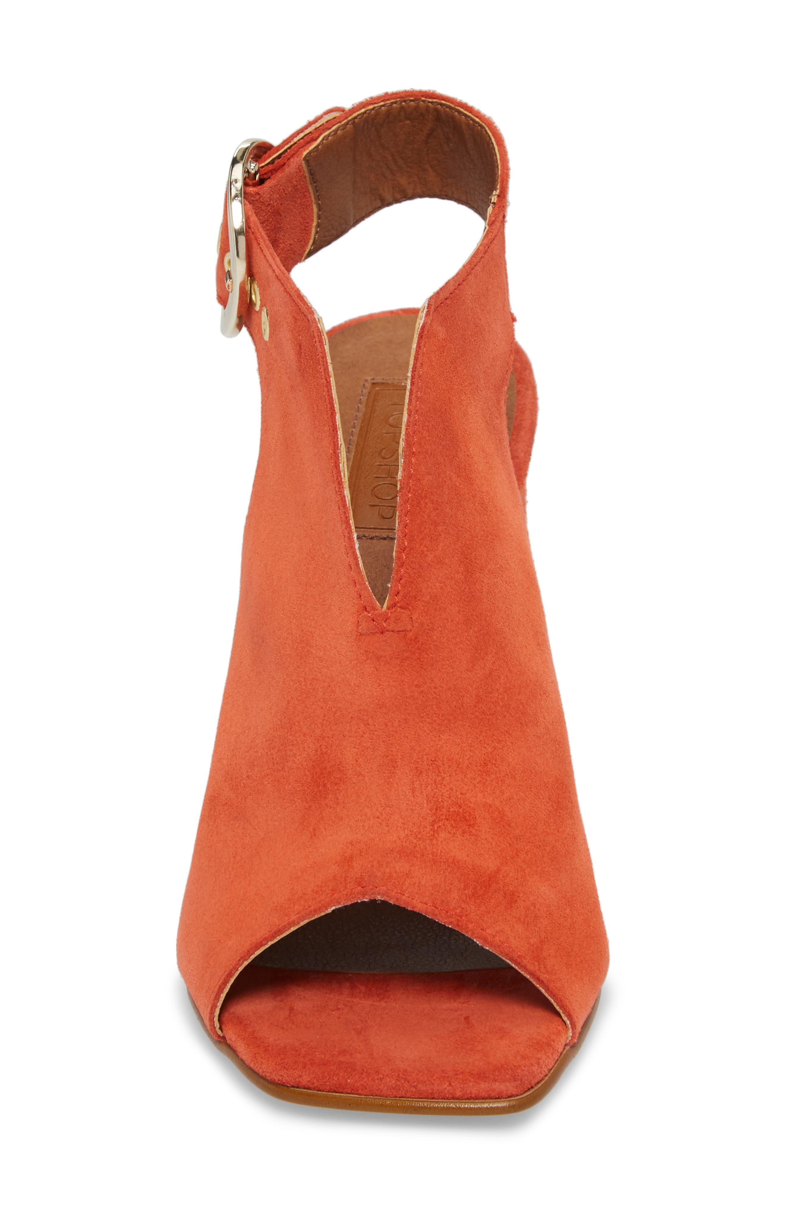 Nika Flared Heel Slingback Sandal,                             Alternate thumbnail 4, color,                             Orange
