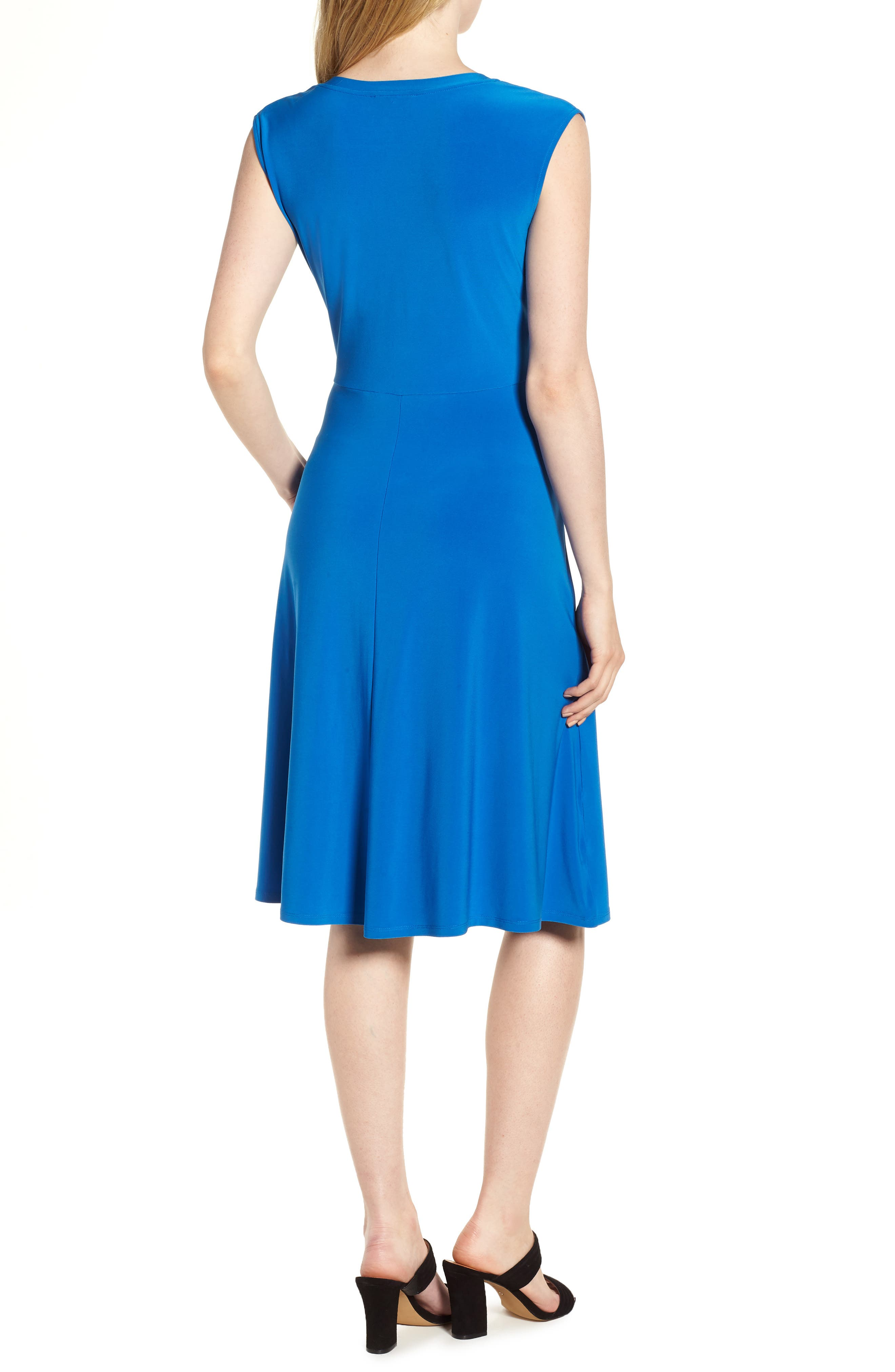 Tie Front Stretch Jersey Dress,                             Alternate thumbnail 2, color,                             Stone