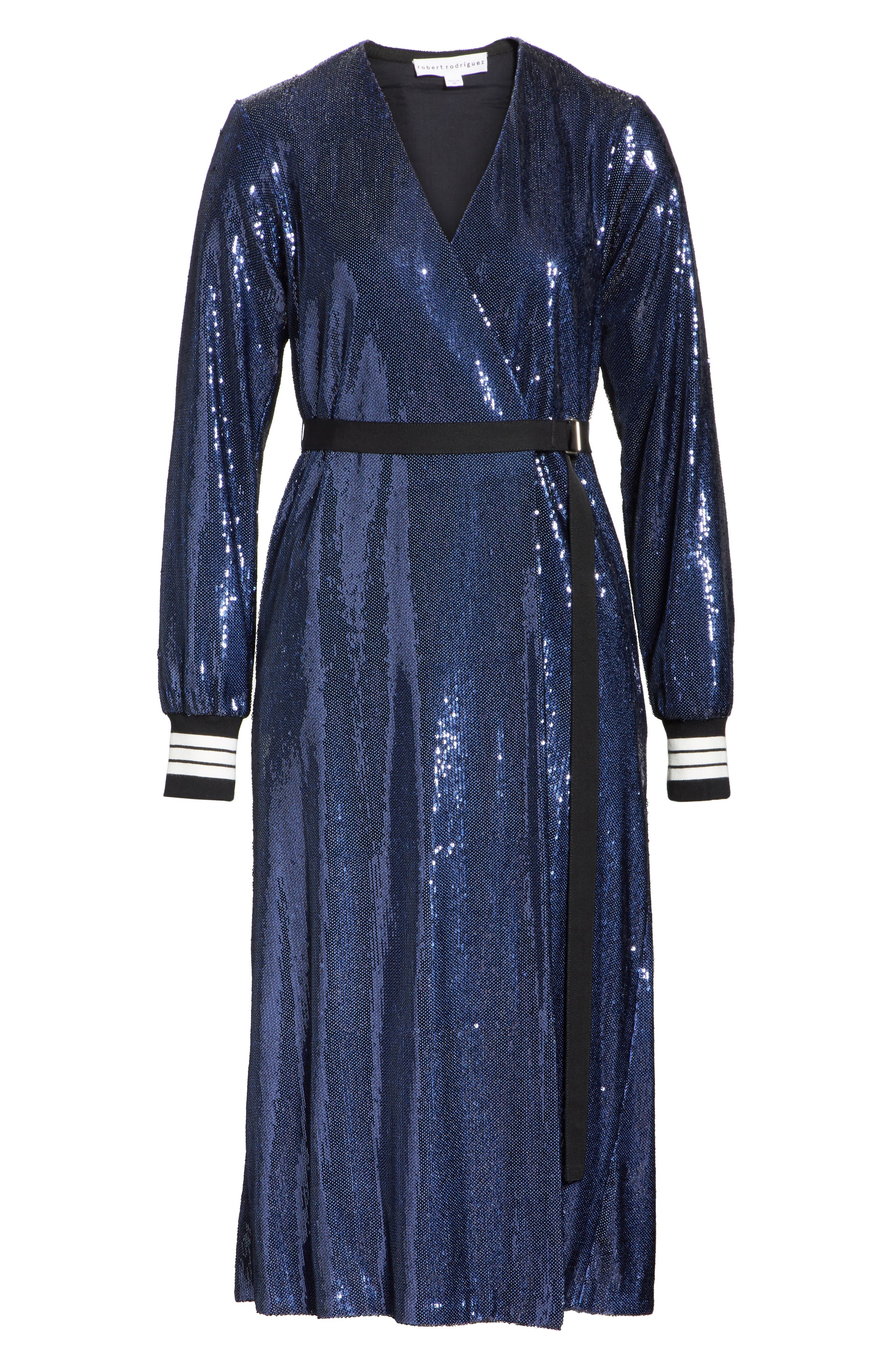 Sequin Wrap Dress,                             Alternate thumbnail 7, color,                             Blue