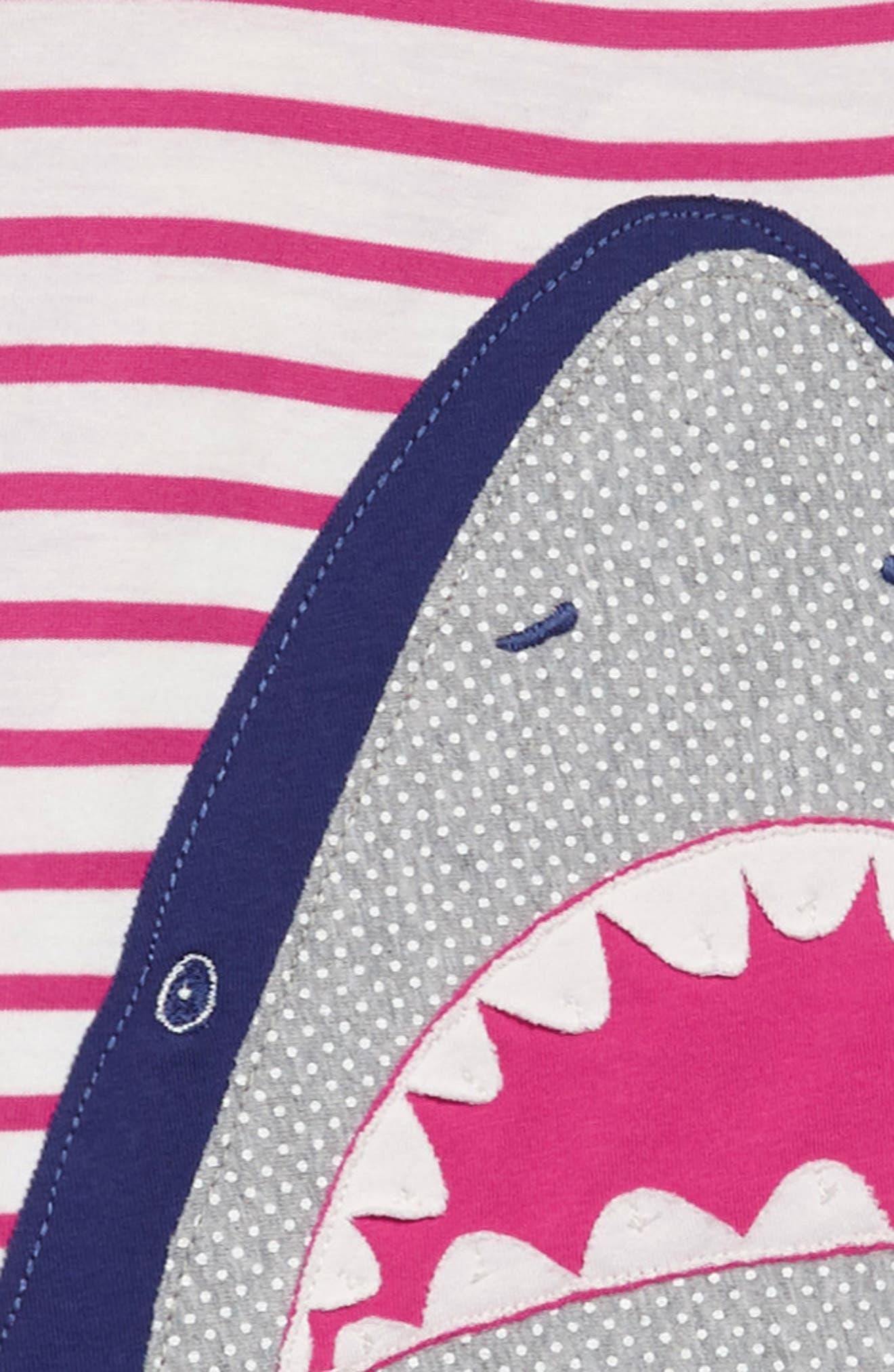 Summer Appliqué T-Shirt Dress,                             Alternate thumbnail 3, color,                             Mid Pink Stripe Shark Pnk