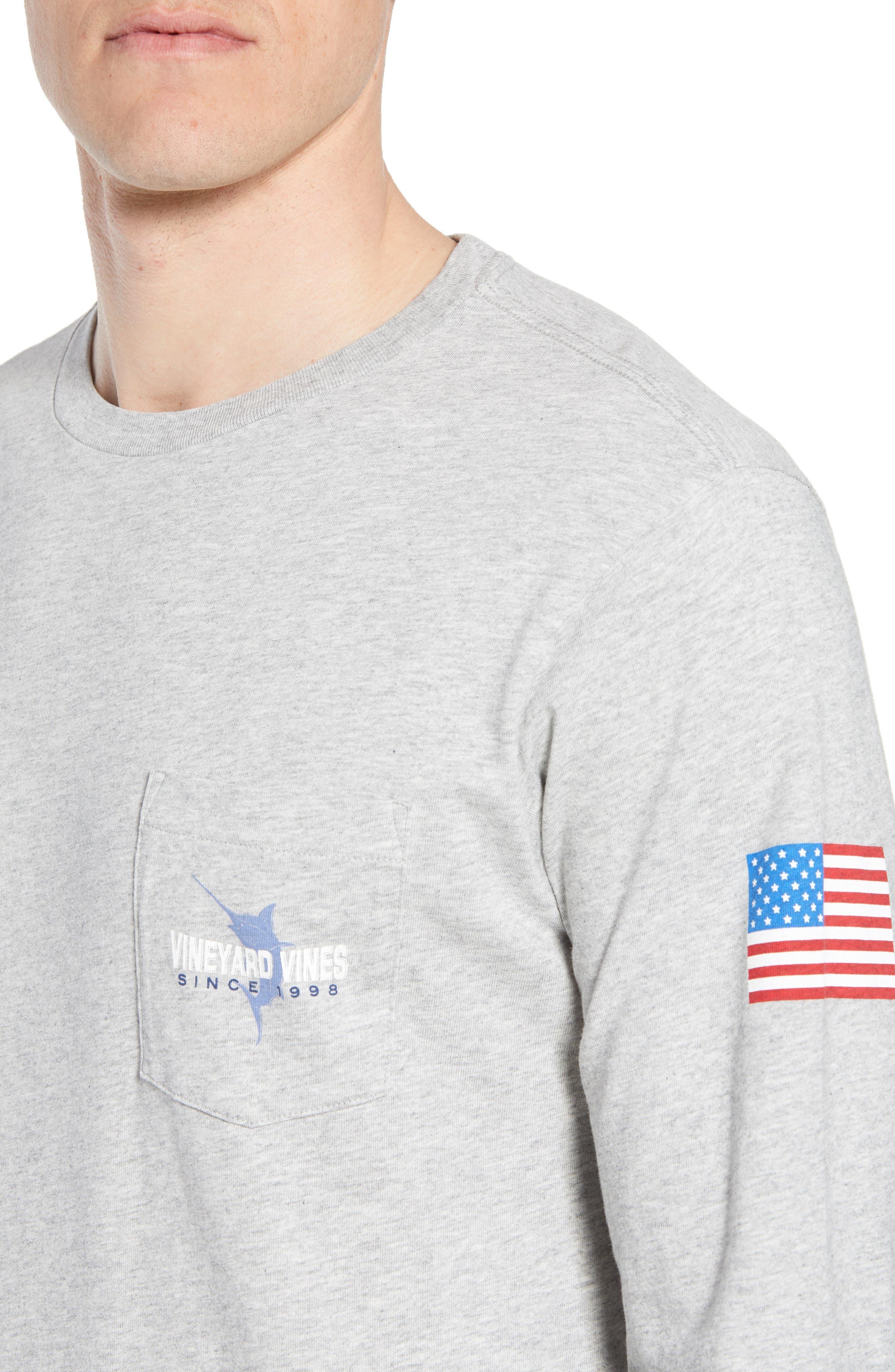 Marlin 98 Long Sleeve Pocket T-Shirt,                             Alternate thumbnail 4, color,                             Gray Heather