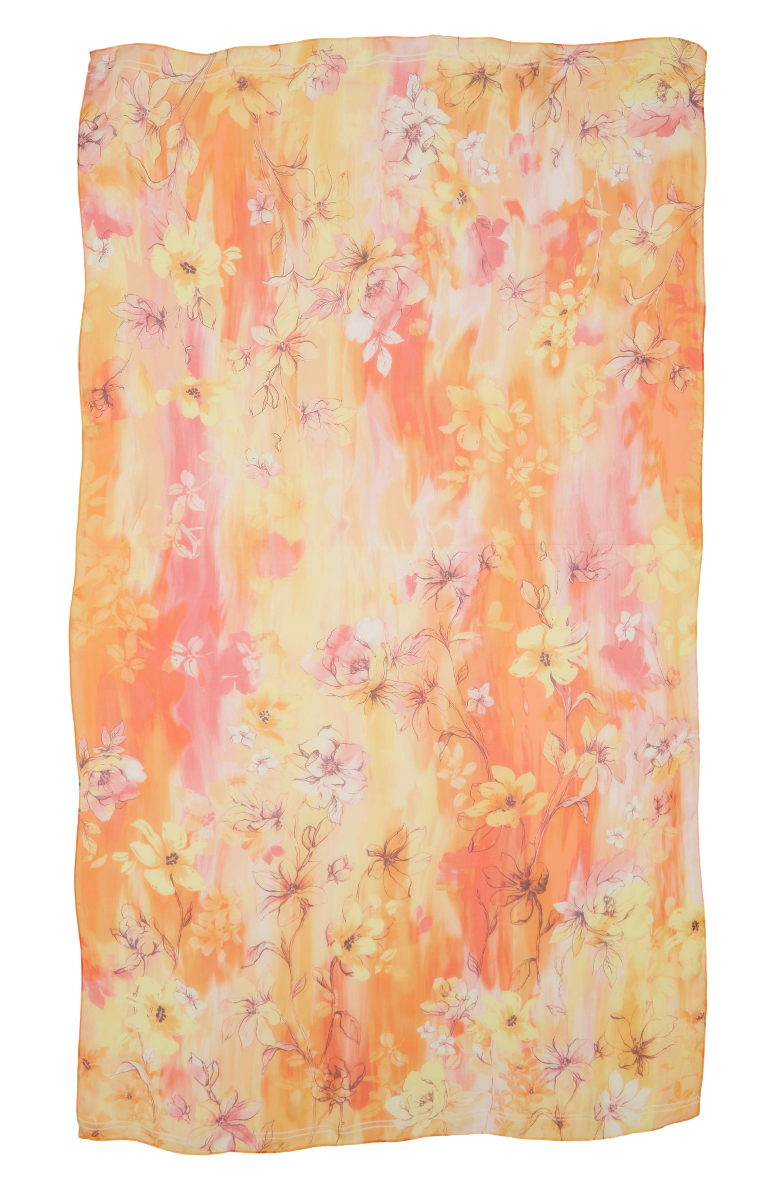 Silk Chiffon Oblong Scarf,                             Alternate thumbnail 2, color,                             Yellow Morningsong Floral