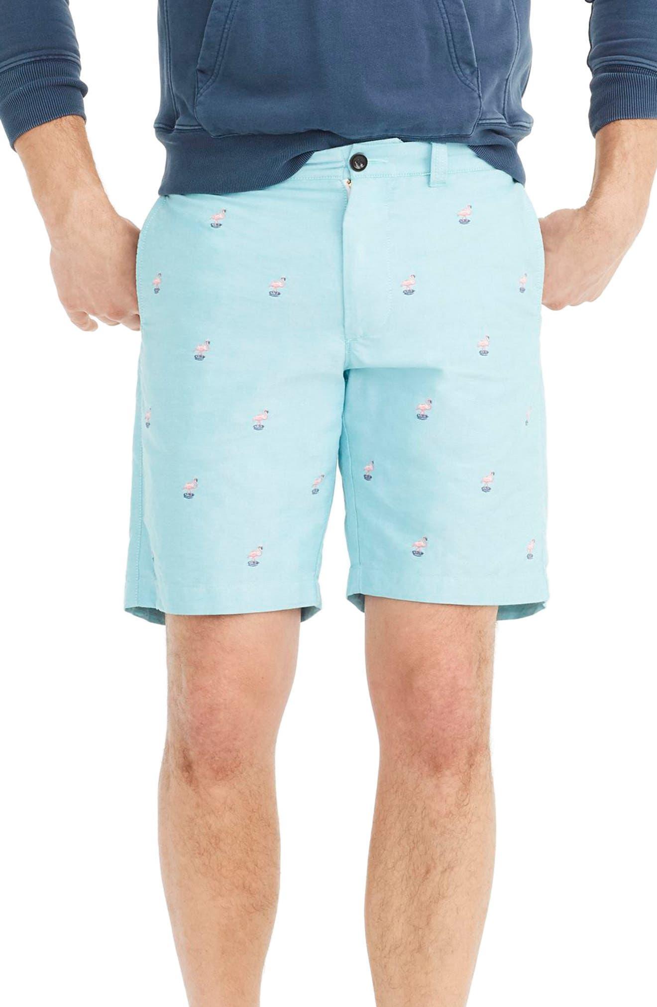J.Crew Embroidered Flamingo Shorts