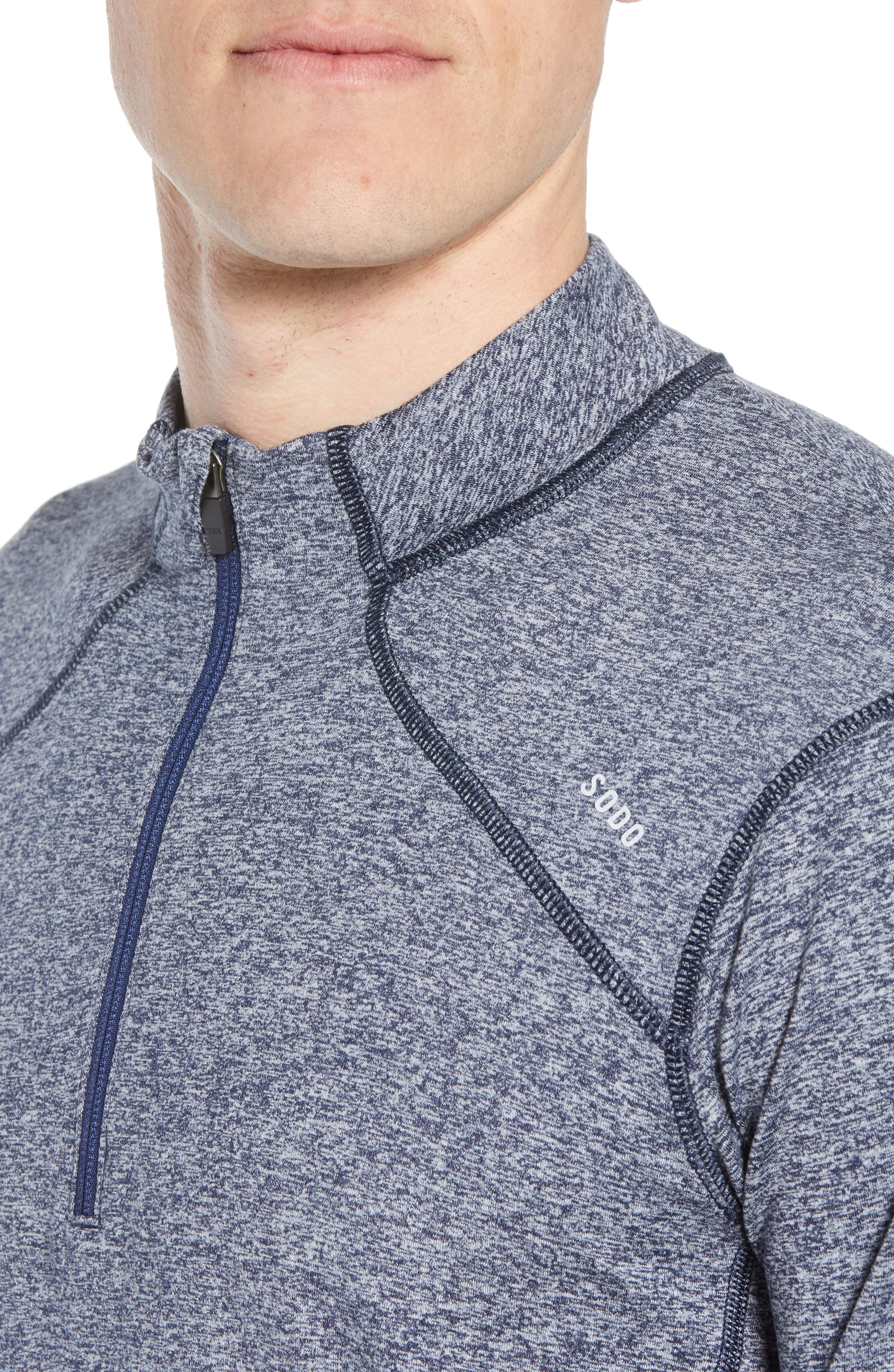 'Elevate' Moisture Wicking Stretch Quarter Zip Pullover,                             Alternate thumbnail 4, color,                             Heather Navy/ Navy