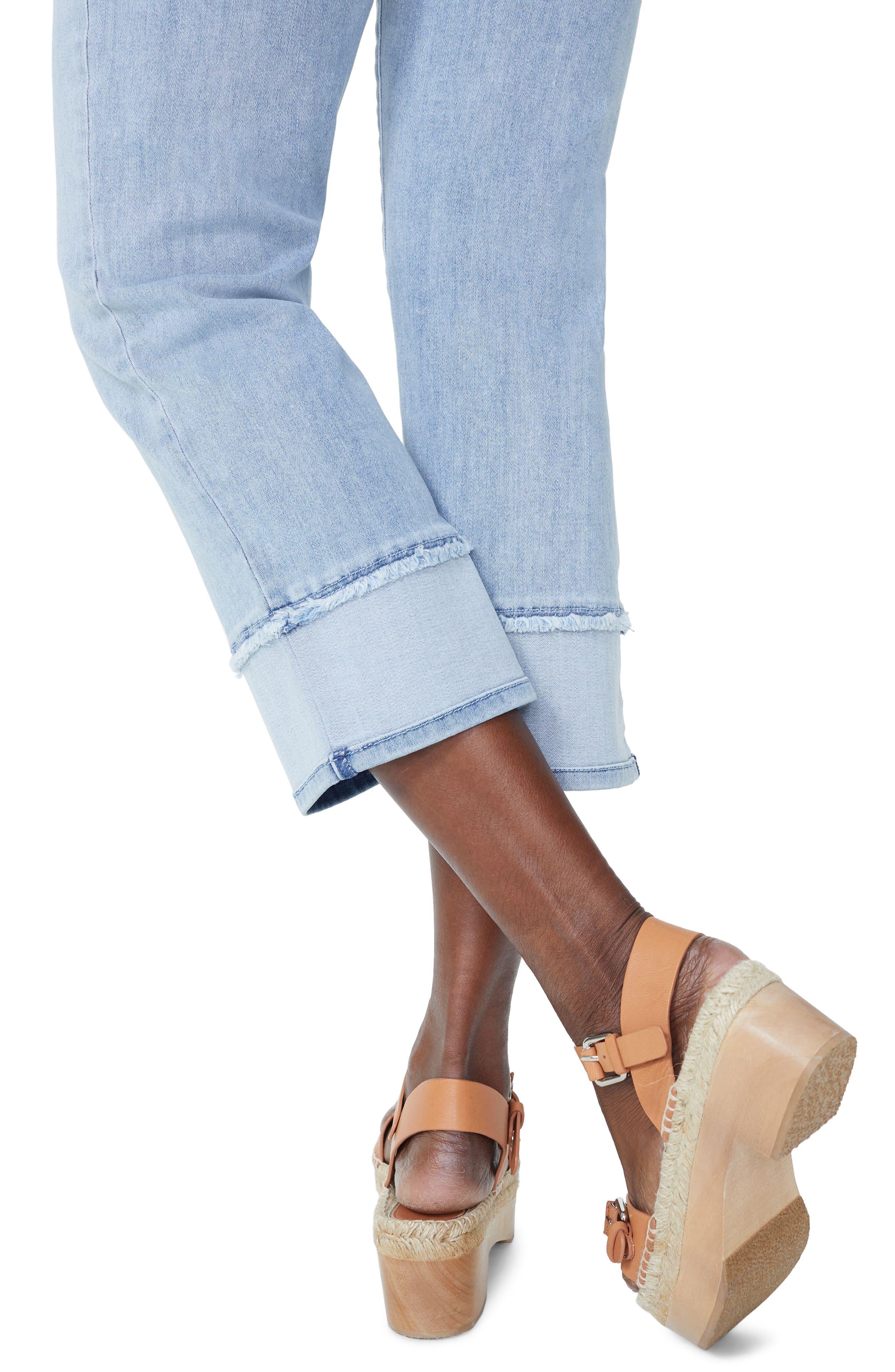 Jenna Straight Leg Reverse Fray Ankle Jeans,                             Alternate thumbnail 4, color,                             Stillwater