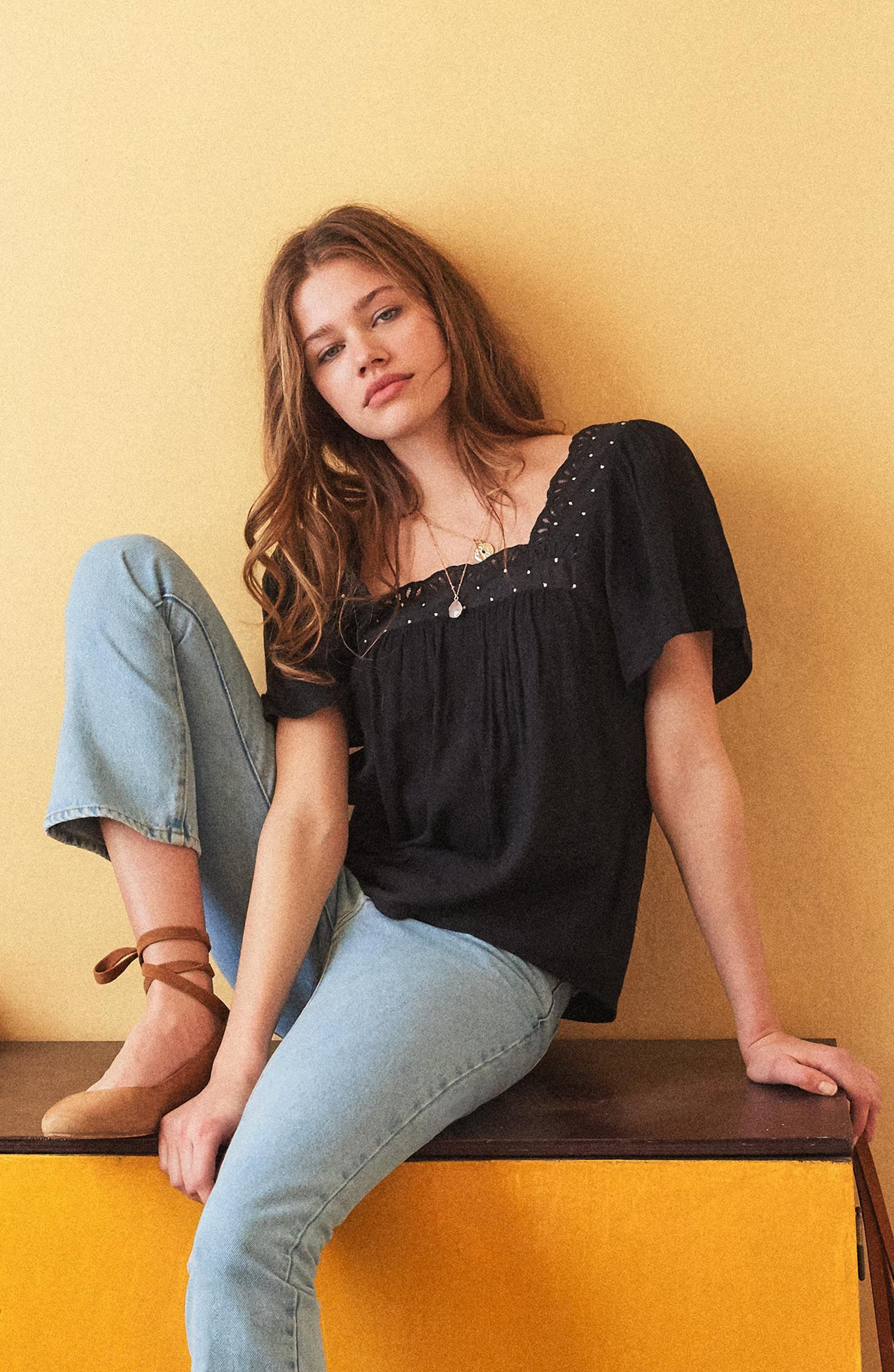 Bea Scalloped Top,                             Alternate thumbnail 2, color,                             Black