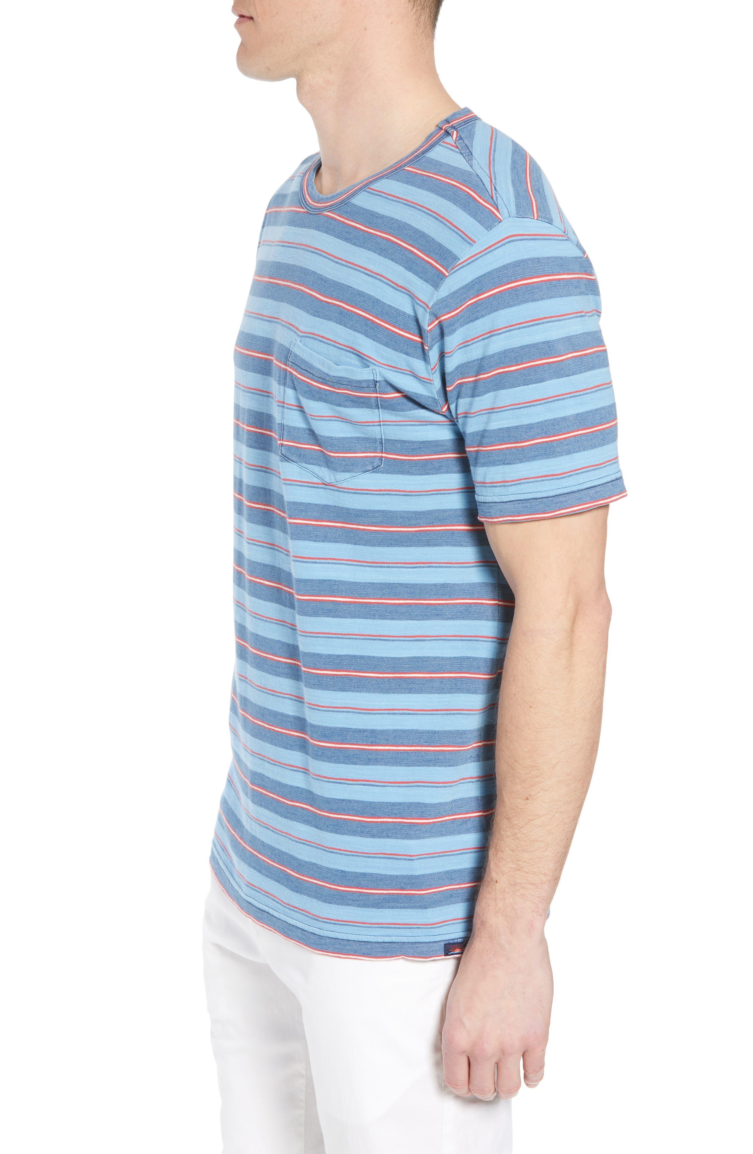 Vintage Stripe Pocket T-Shirt,                             Alternate thumbnail 3, color,                             Indigo Multi