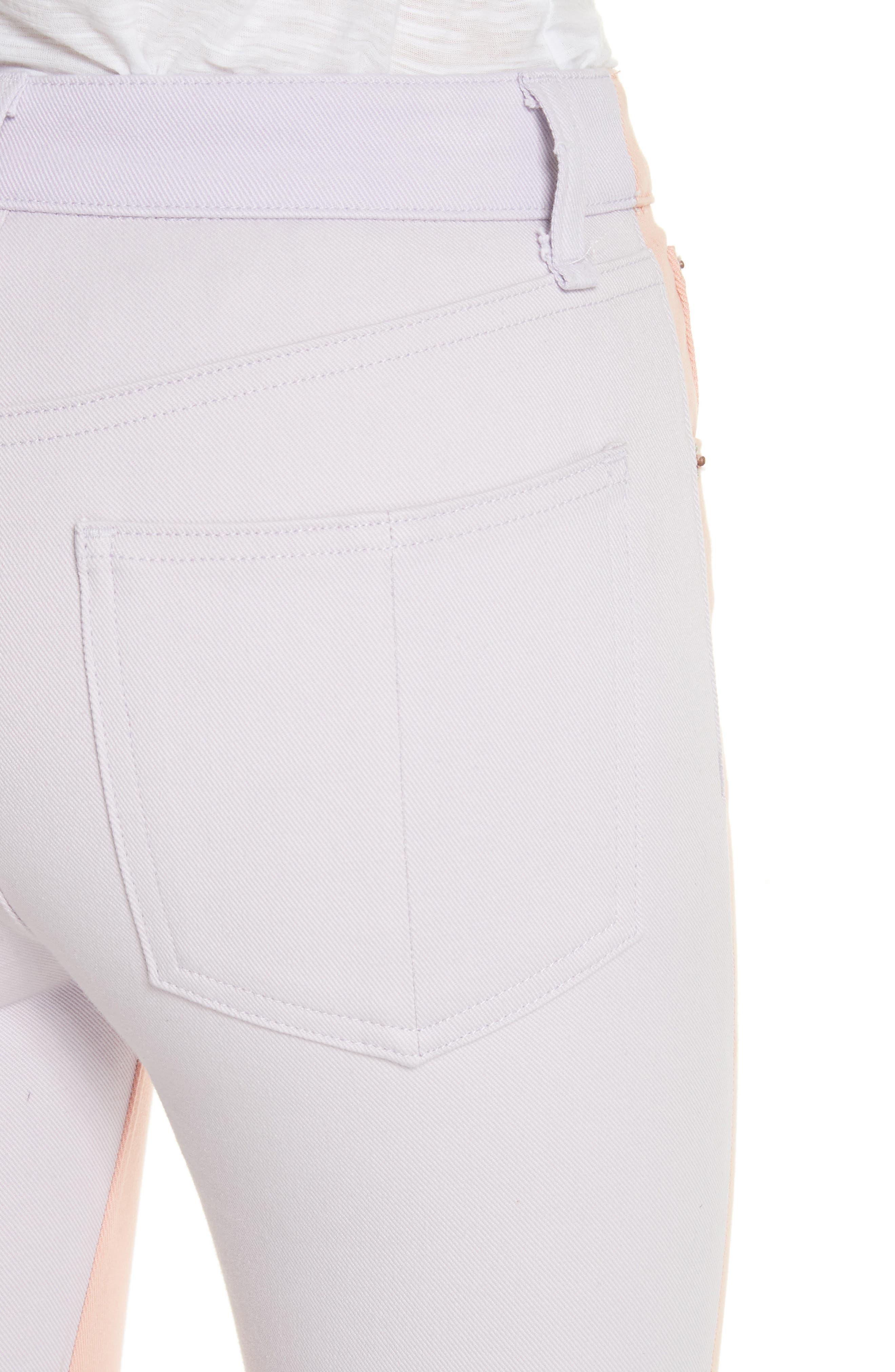 High Waist Skinny Jeans,                             Alternate thumbnail 4, color,                             Peach/ Lilac