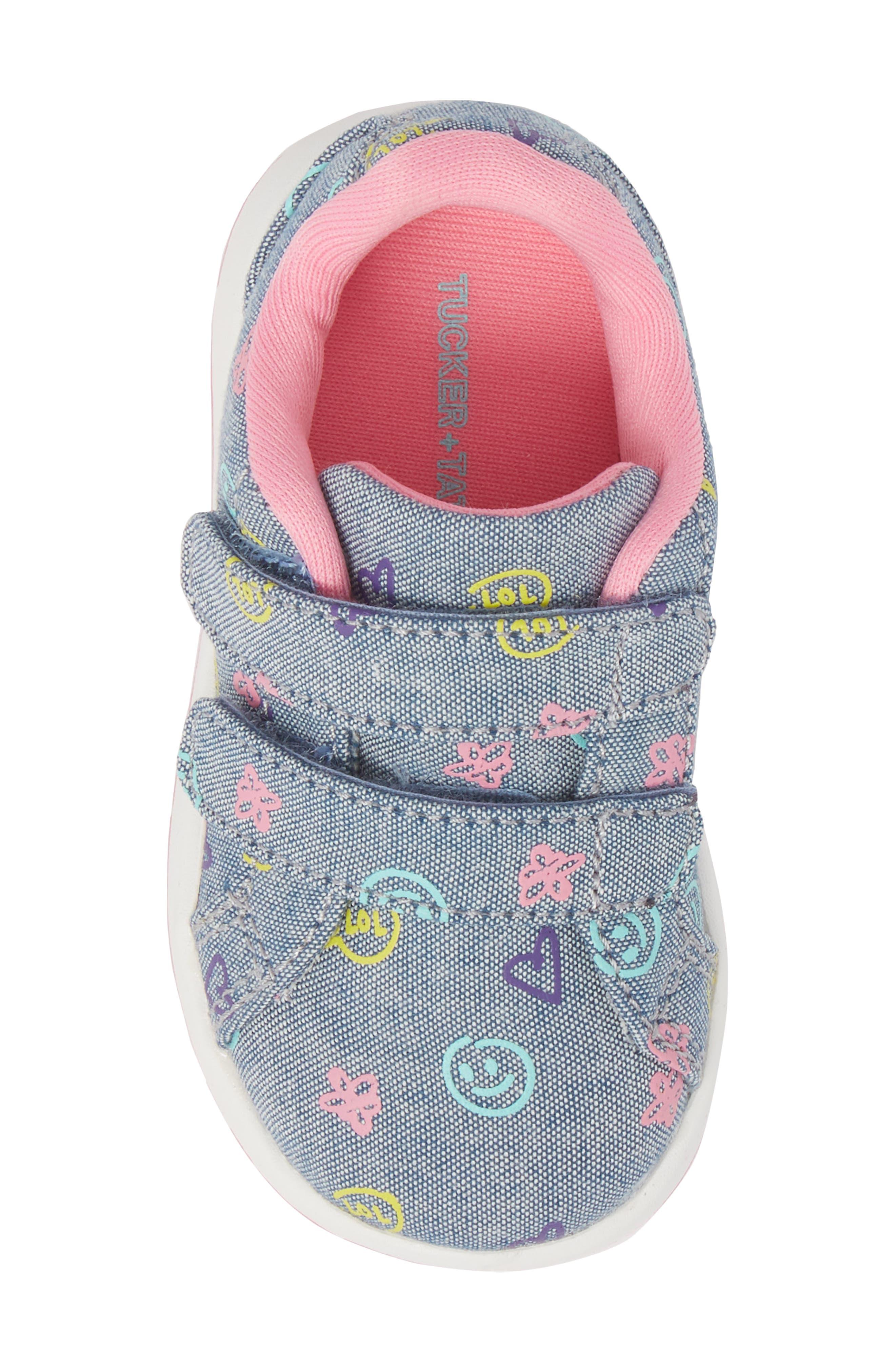 Kate Print Sneaker,                             Alternate thumbnail 5, color,                             Blue Denim Printed Fabric