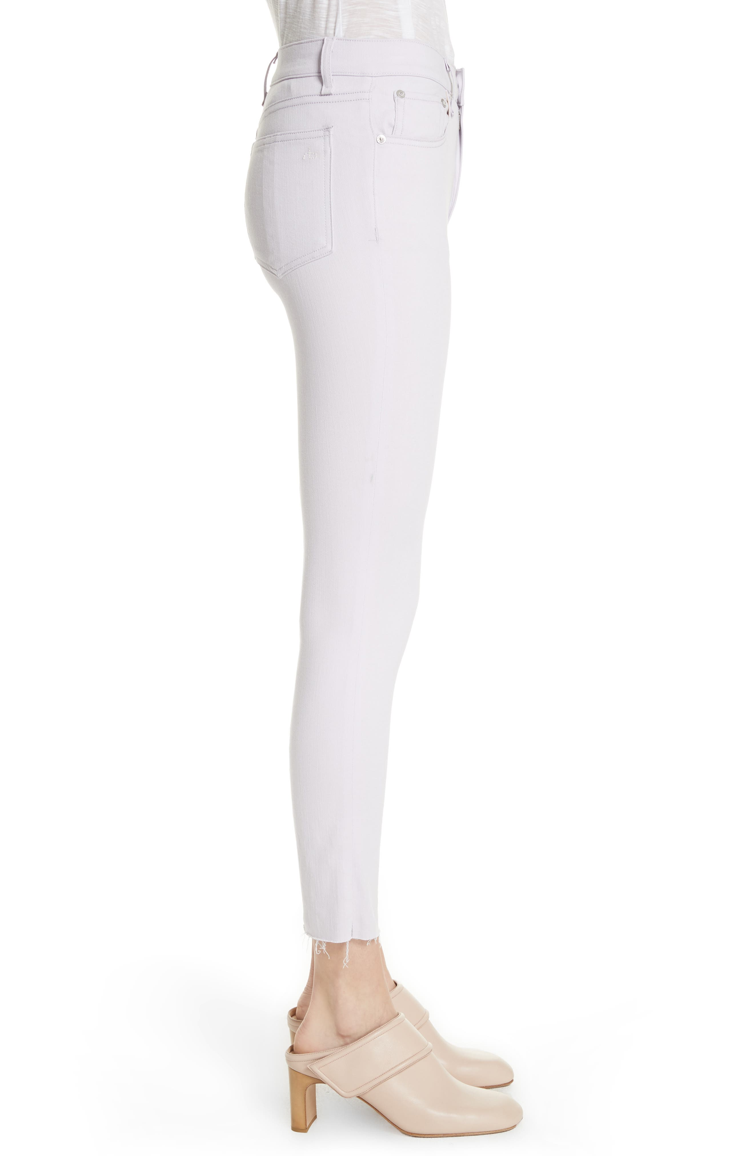 High Waist Ankle Skinny Jeans,                             Alternate thumbnail 3, color,                             Lilac