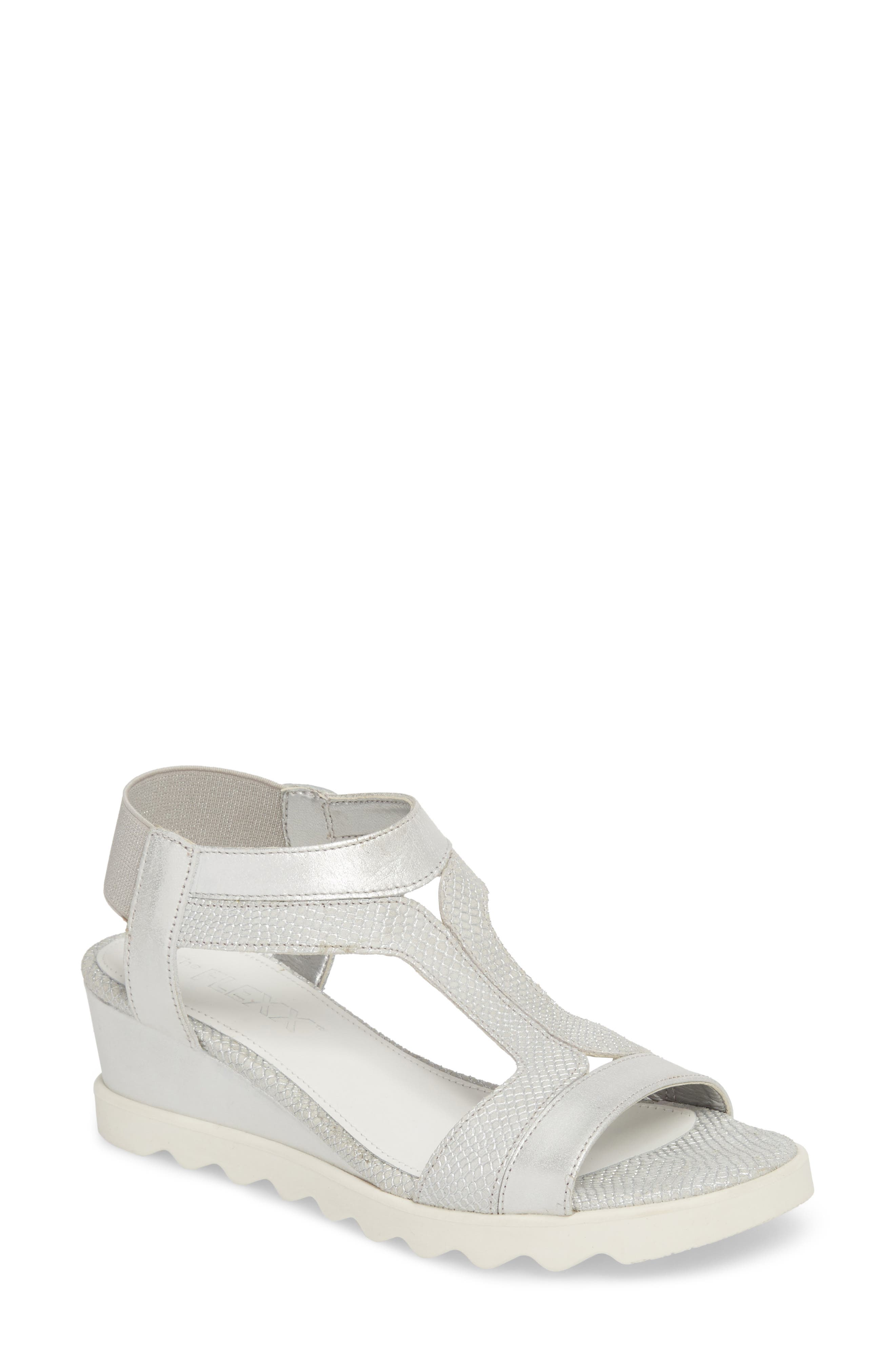 Give A Hoot Wedge Sandal,                         Main,                         color, Silver Leather
