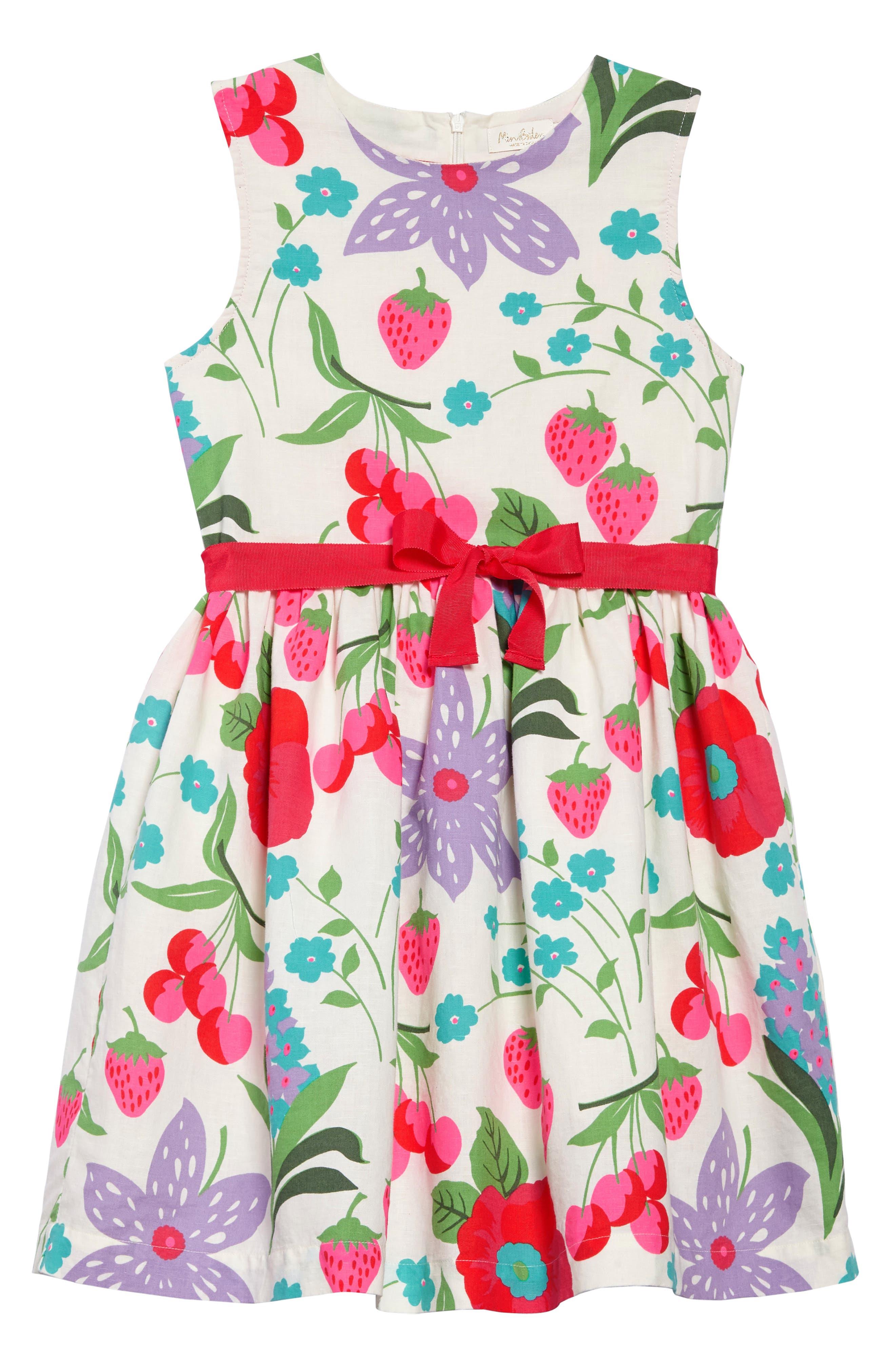 Vintage Linen & Cotton Dress,                         Main,                         color, Ecru Summer Fruits Ecr