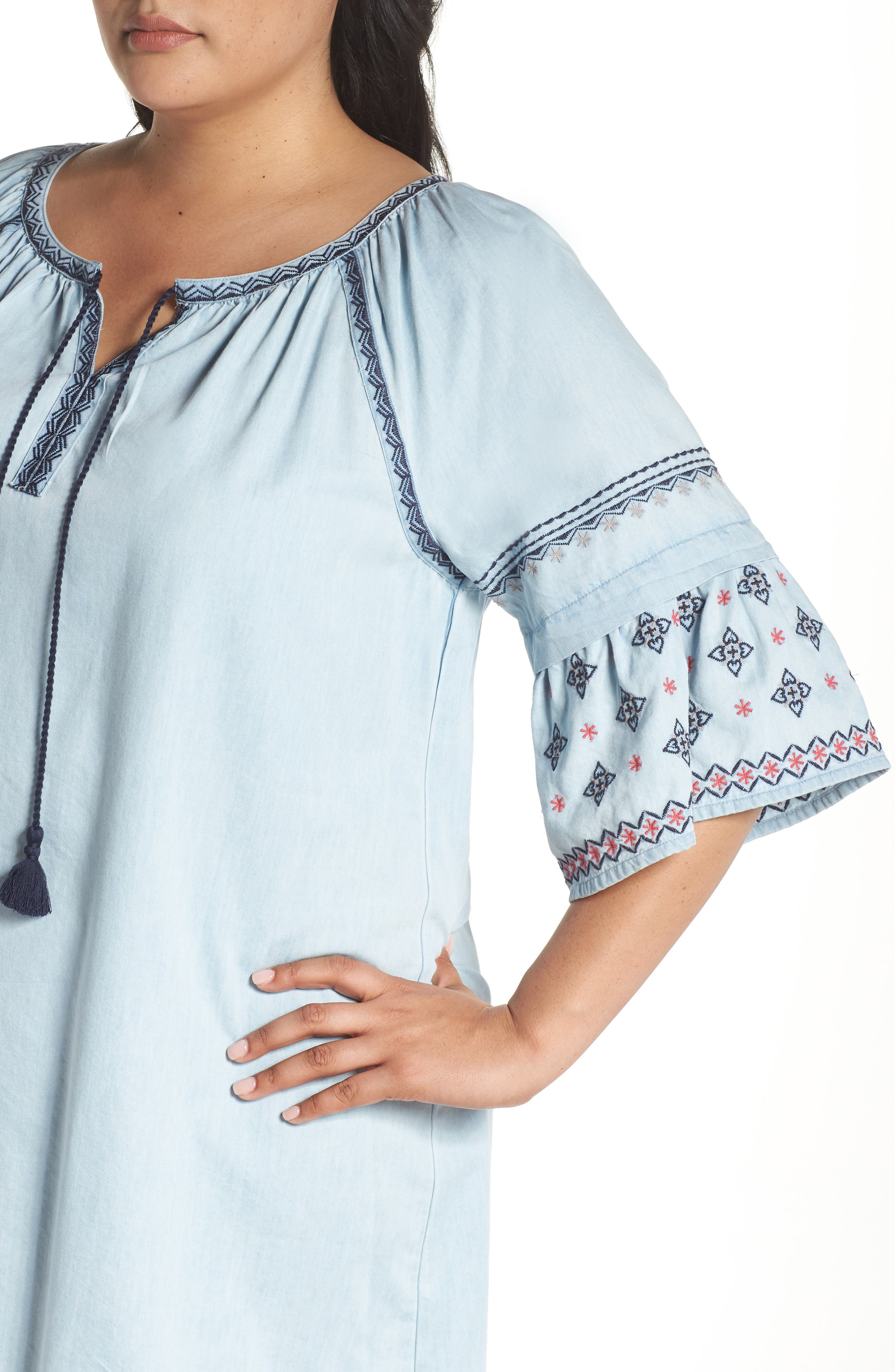 Embroidered Chambray Dress,                             Alternate thumbnail 4, color,                             Spectrum Wash