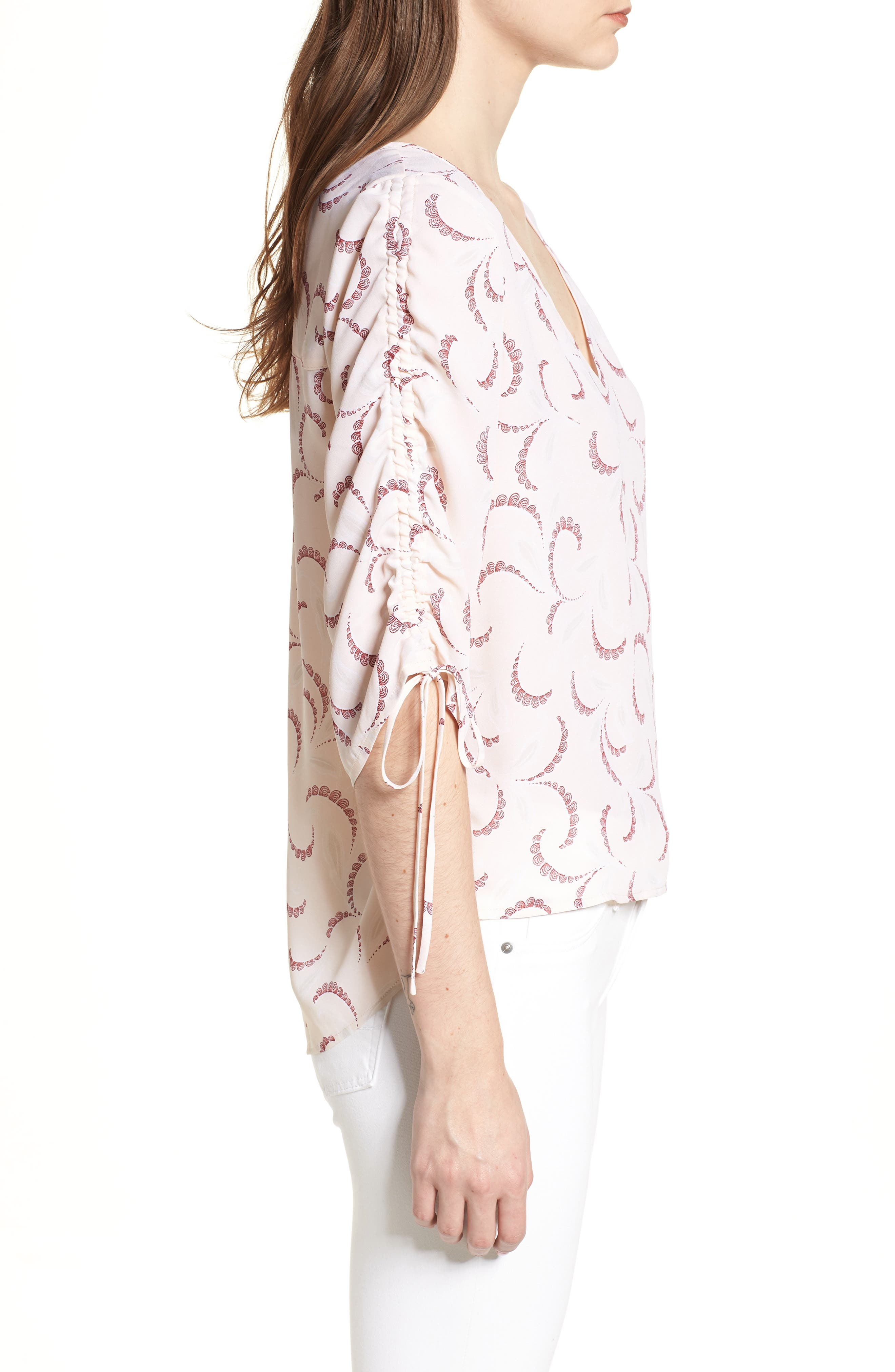 Print Ruched Sleeve Top,                             Alternate thumbnail 3, color,                             Pink Peony Bud Soft Swirls