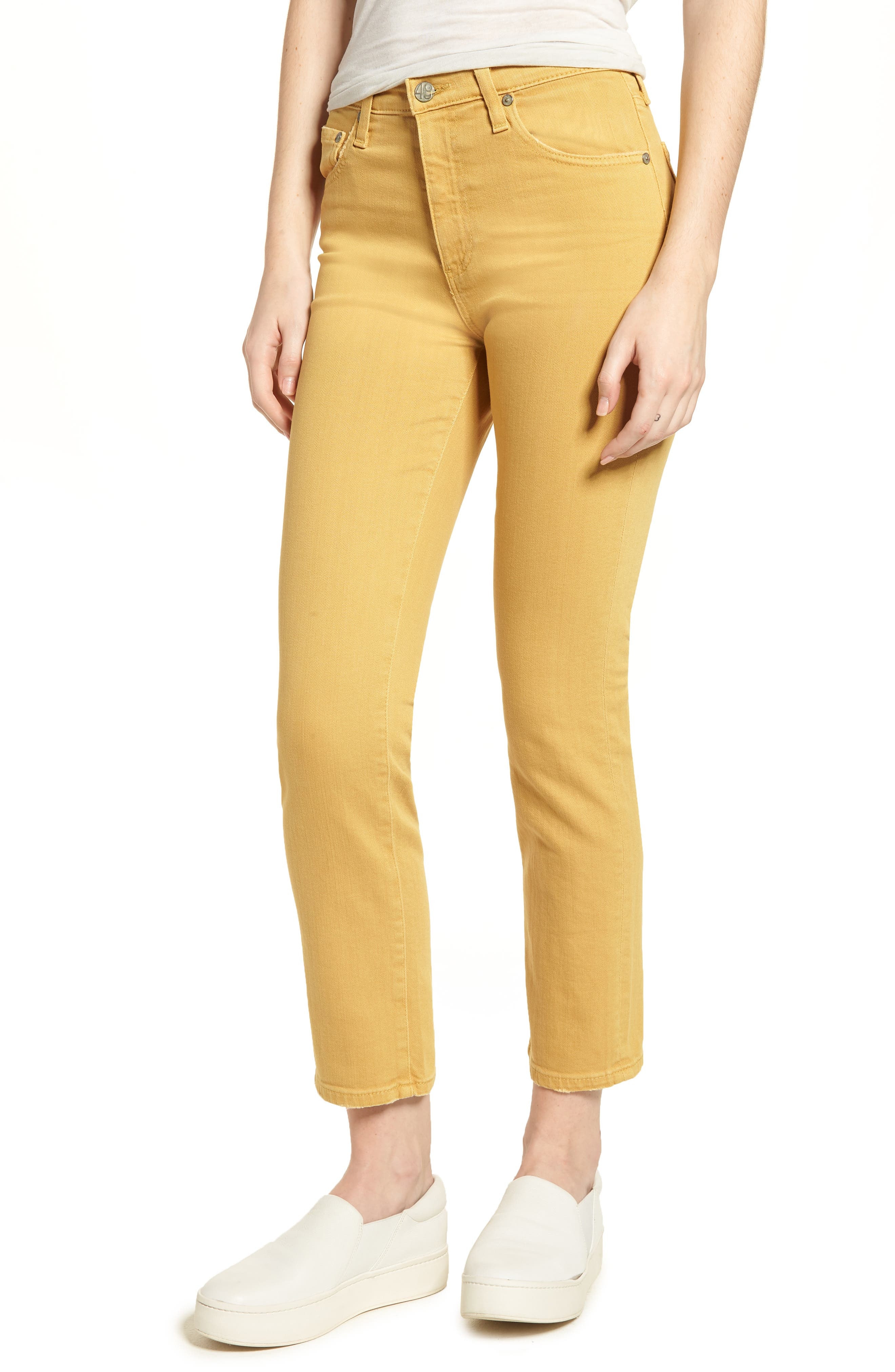 AG The Isabelle High Waist Crop Straight Leg Jeans