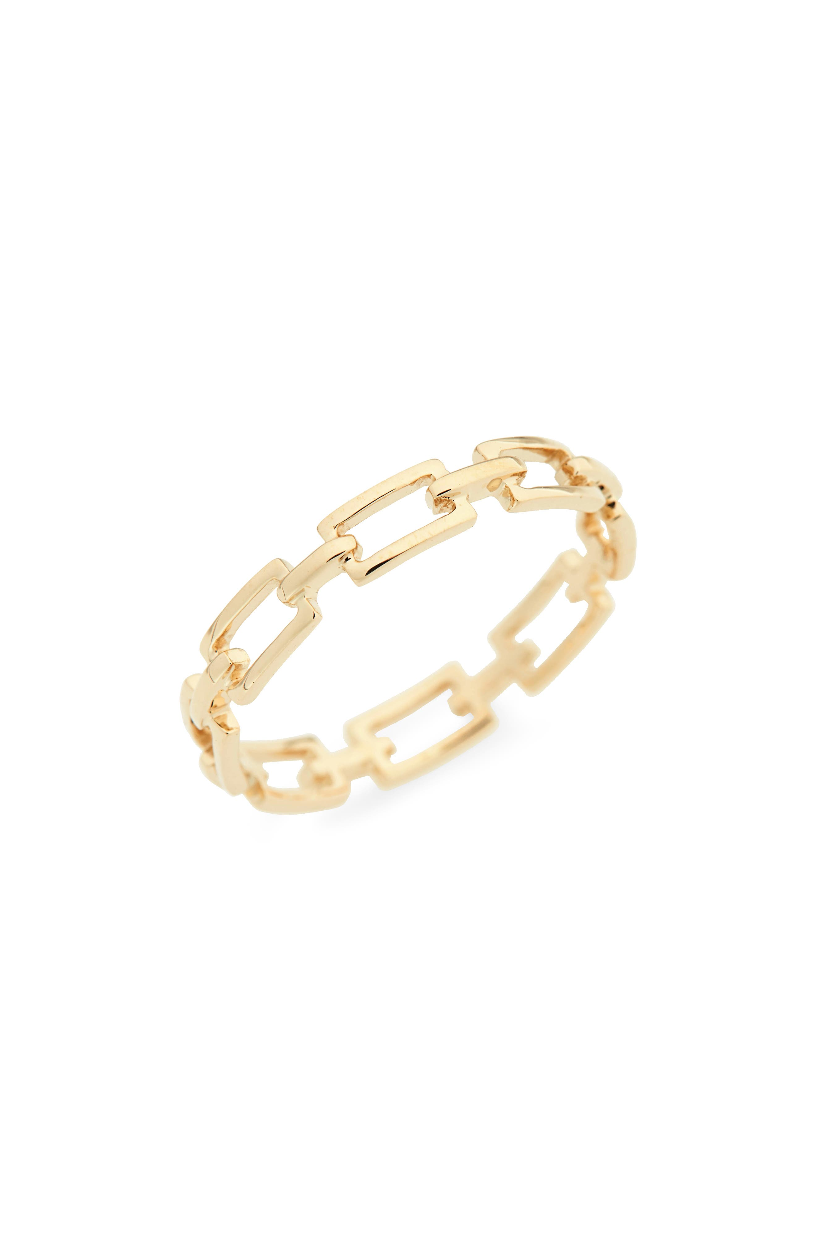 14-Karat Gold Link Stacking Ring,                         Main,                         color, Yellow Gold