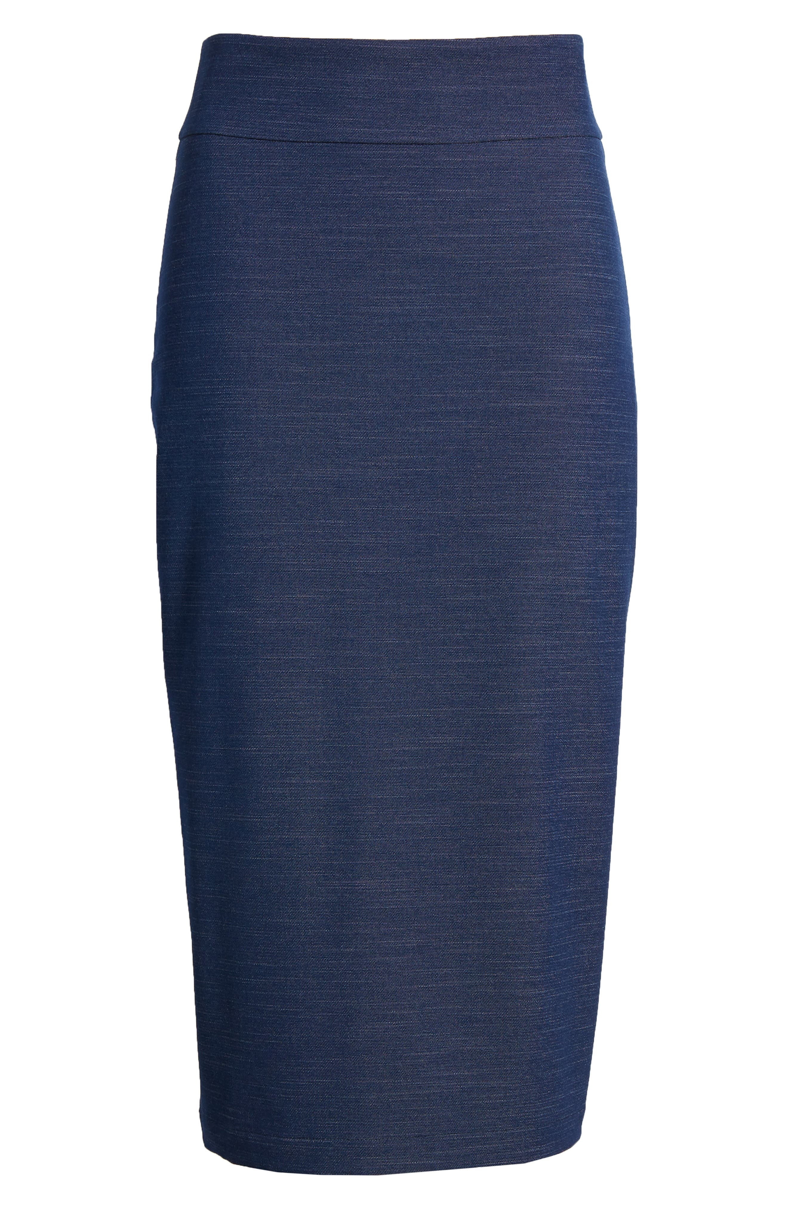 High Waist Chambray Skirt,                             Alternate thumbnail 6, color,                             Dark Chambray
