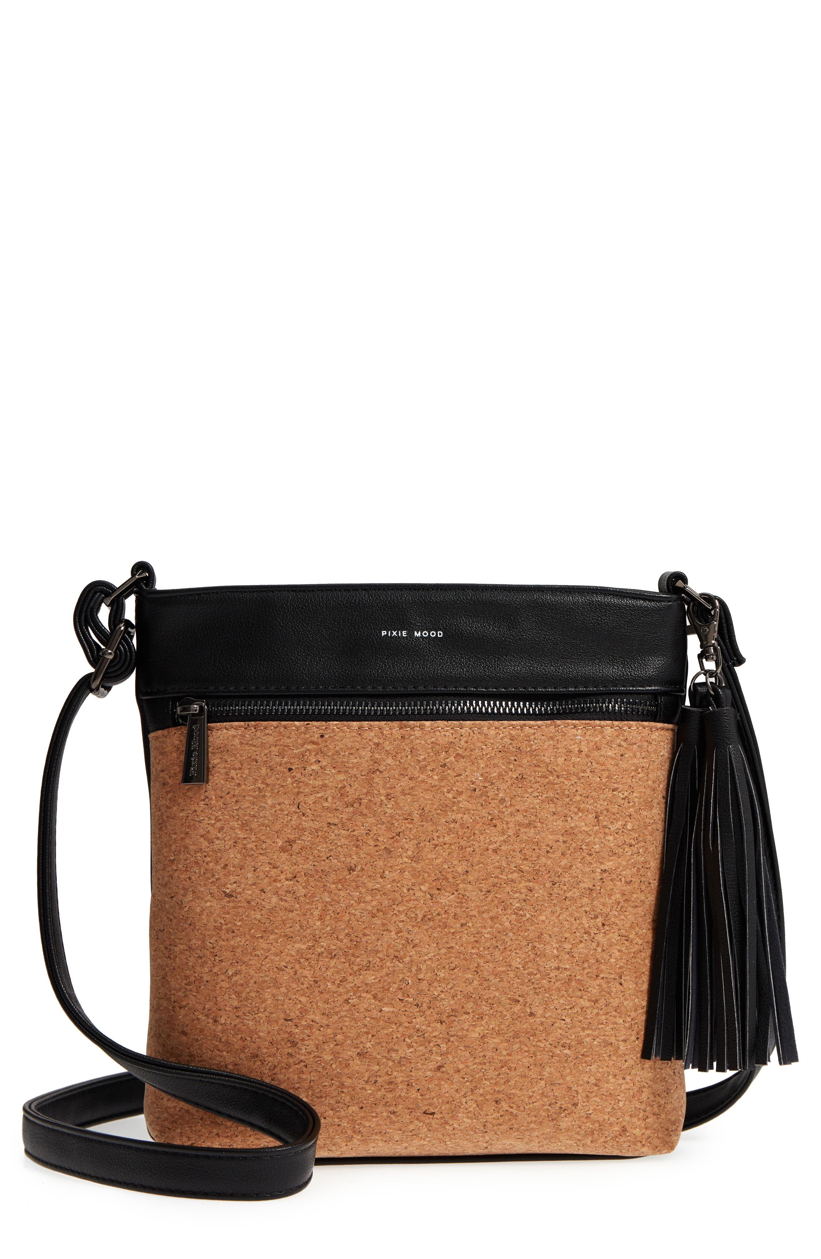 Claudia Faux Leather Crossbody Bag,                         Main,                         color, Black