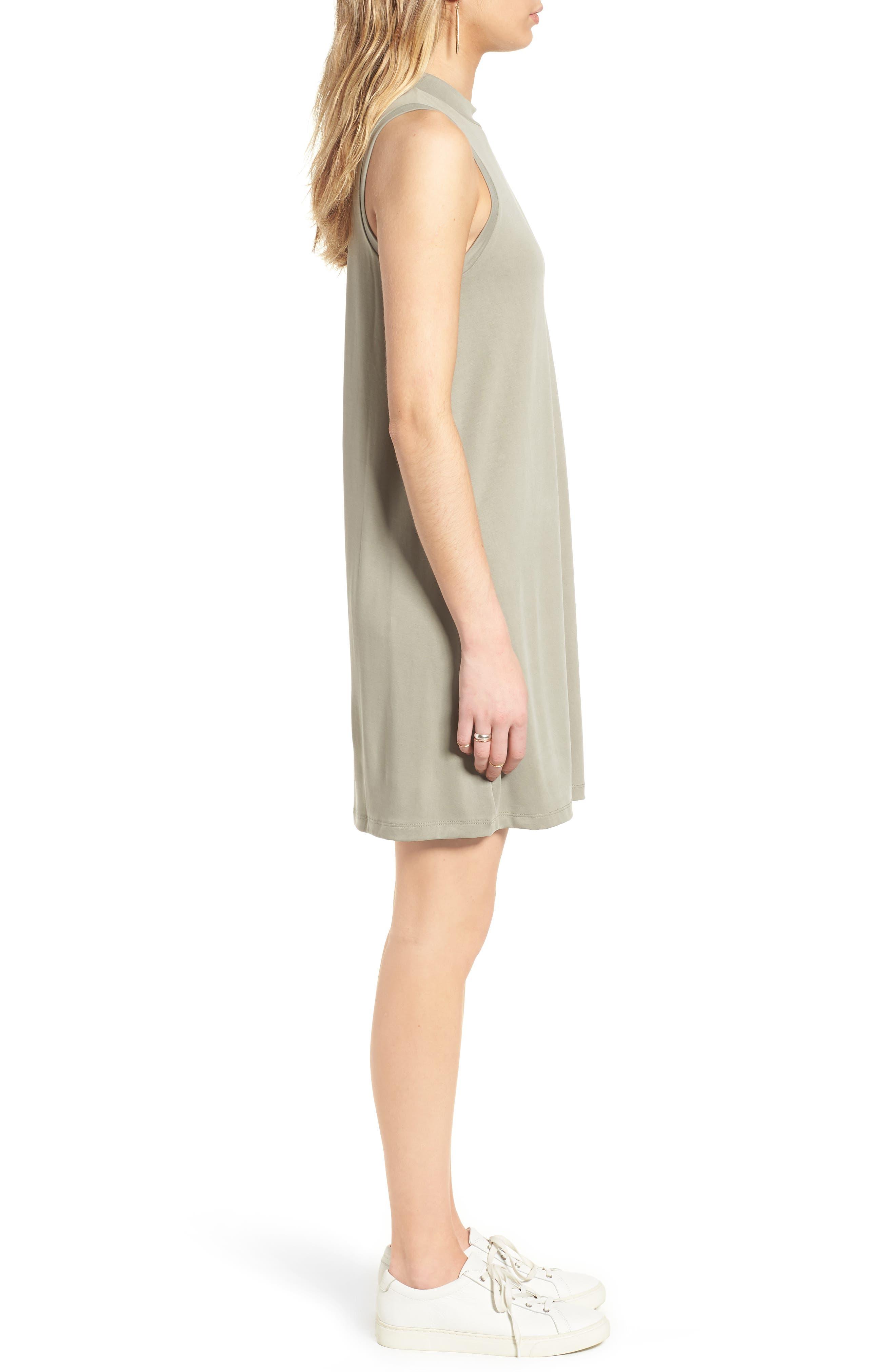 Sandwashed Mock Neck Tank Dress,                             Alternate thumbnail 3, color,                             Washed Olive