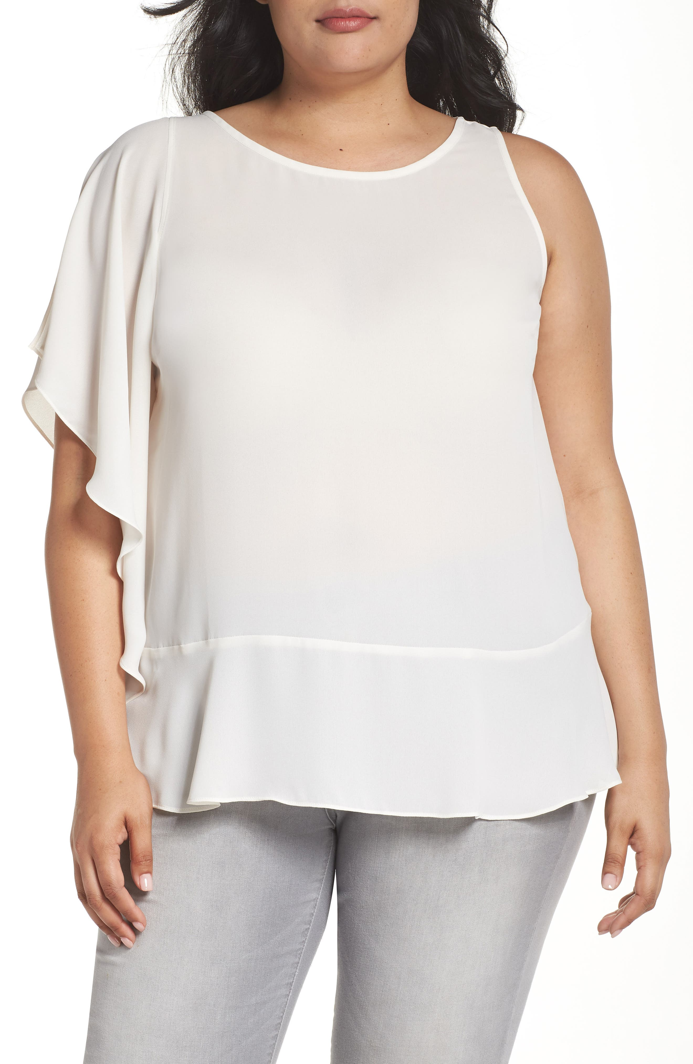 Sejour Ruffled One-Shoulder Top (Plus Size)