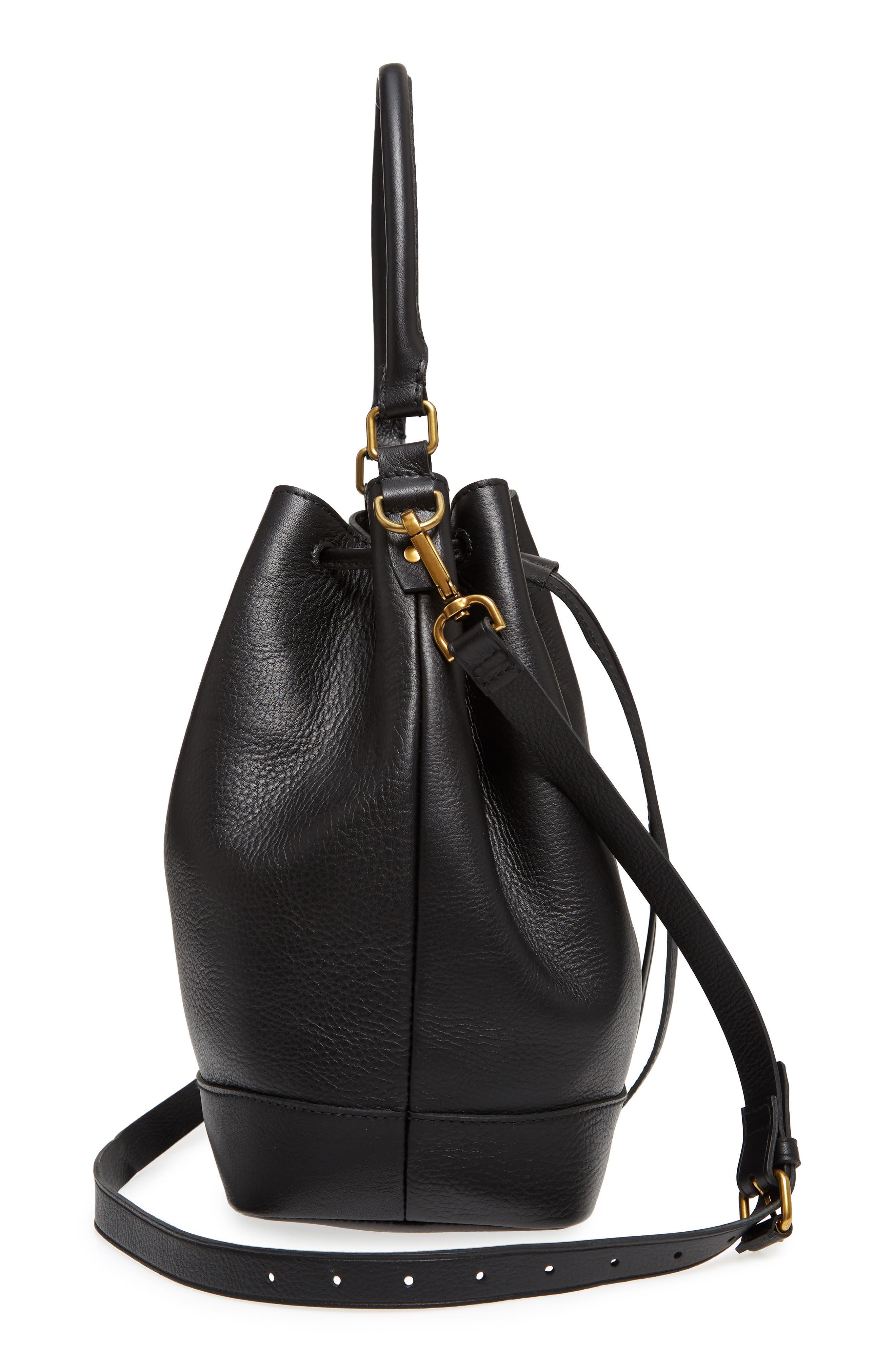 Lafayette Leather Bucket Bag,                             Alternate thumbnail 5, color,                             True Black