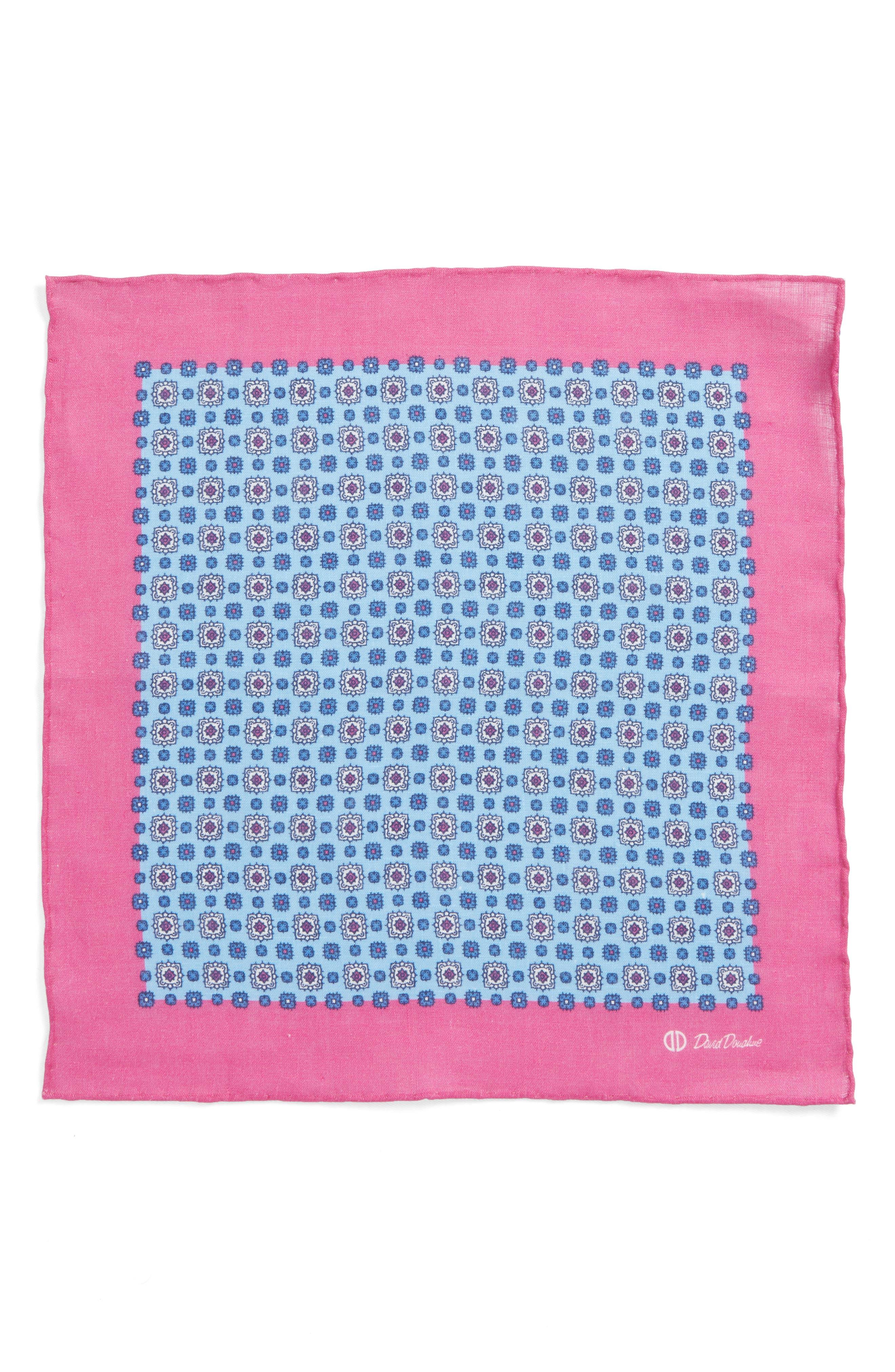 Medallion Linen Pocket Square,                             Alternate thumbnail 2, color,                             Pink