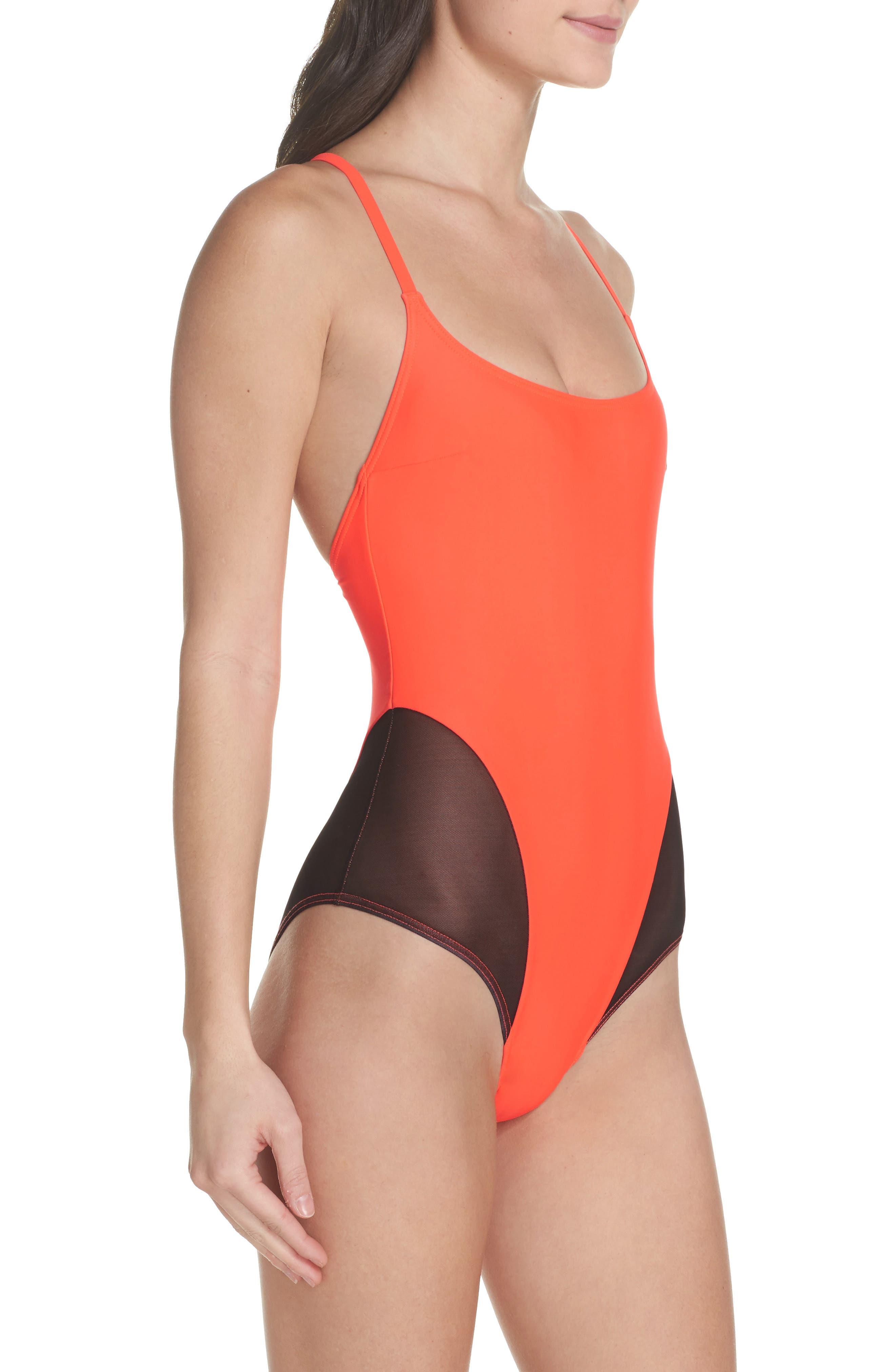 Delta X One-Piece Swimsuit,                             Alternate thumbnail 3, color,                             Neon Lava Orange