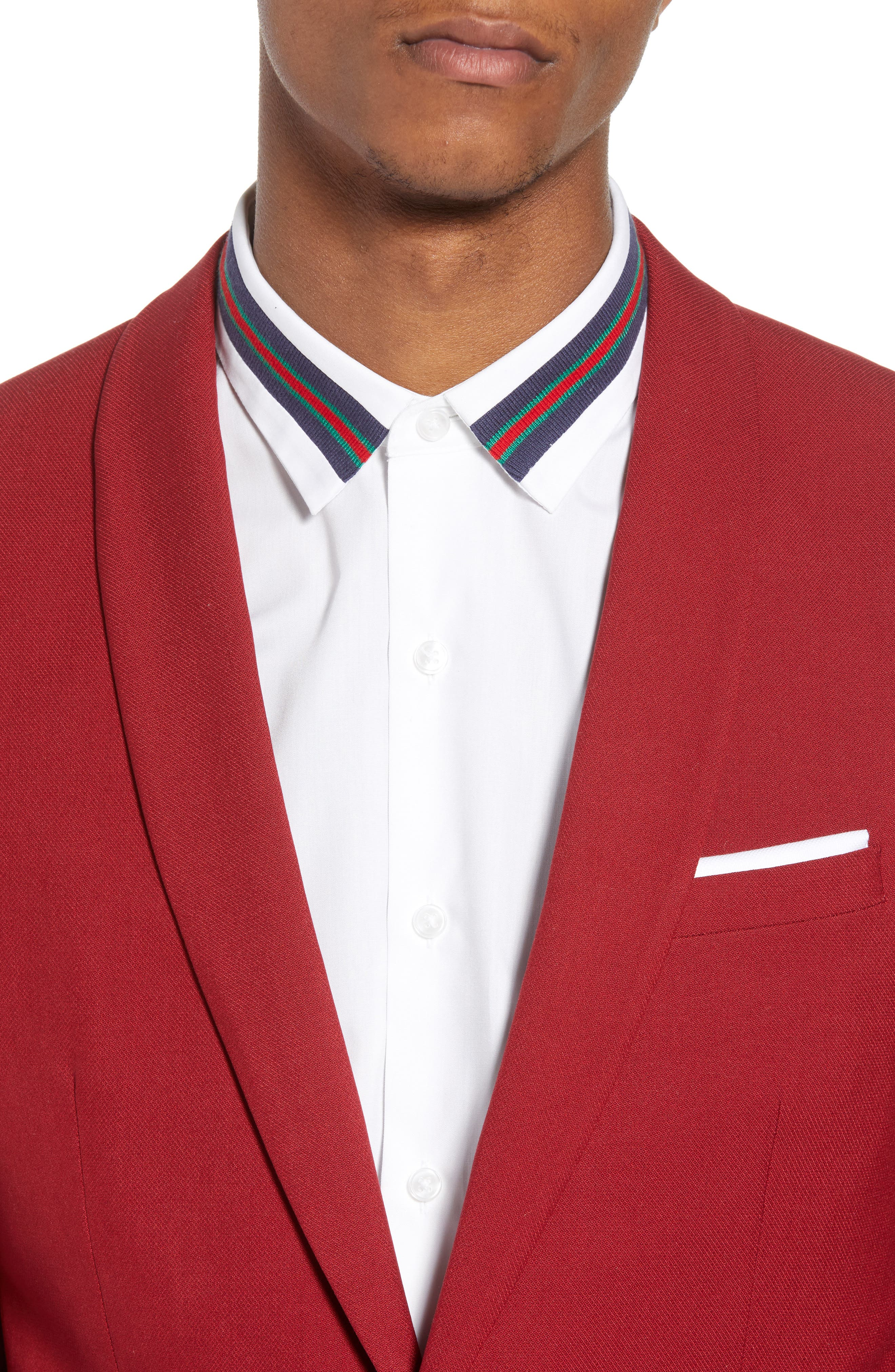 Skinny Fit Suit Jacket,                             Alternate thumbnail 4, color,                             Red