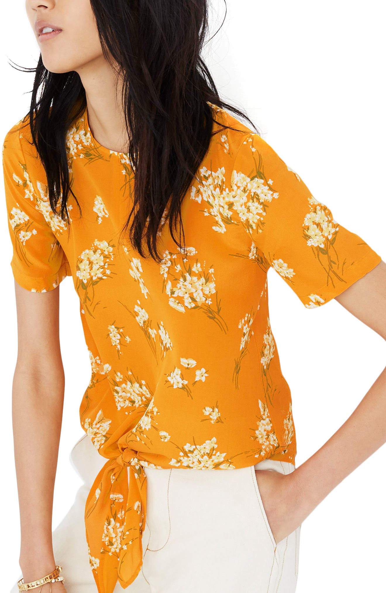 Butterfly Garden Button Back Silk Tee,                         Main,                         color, Bouquet Floral