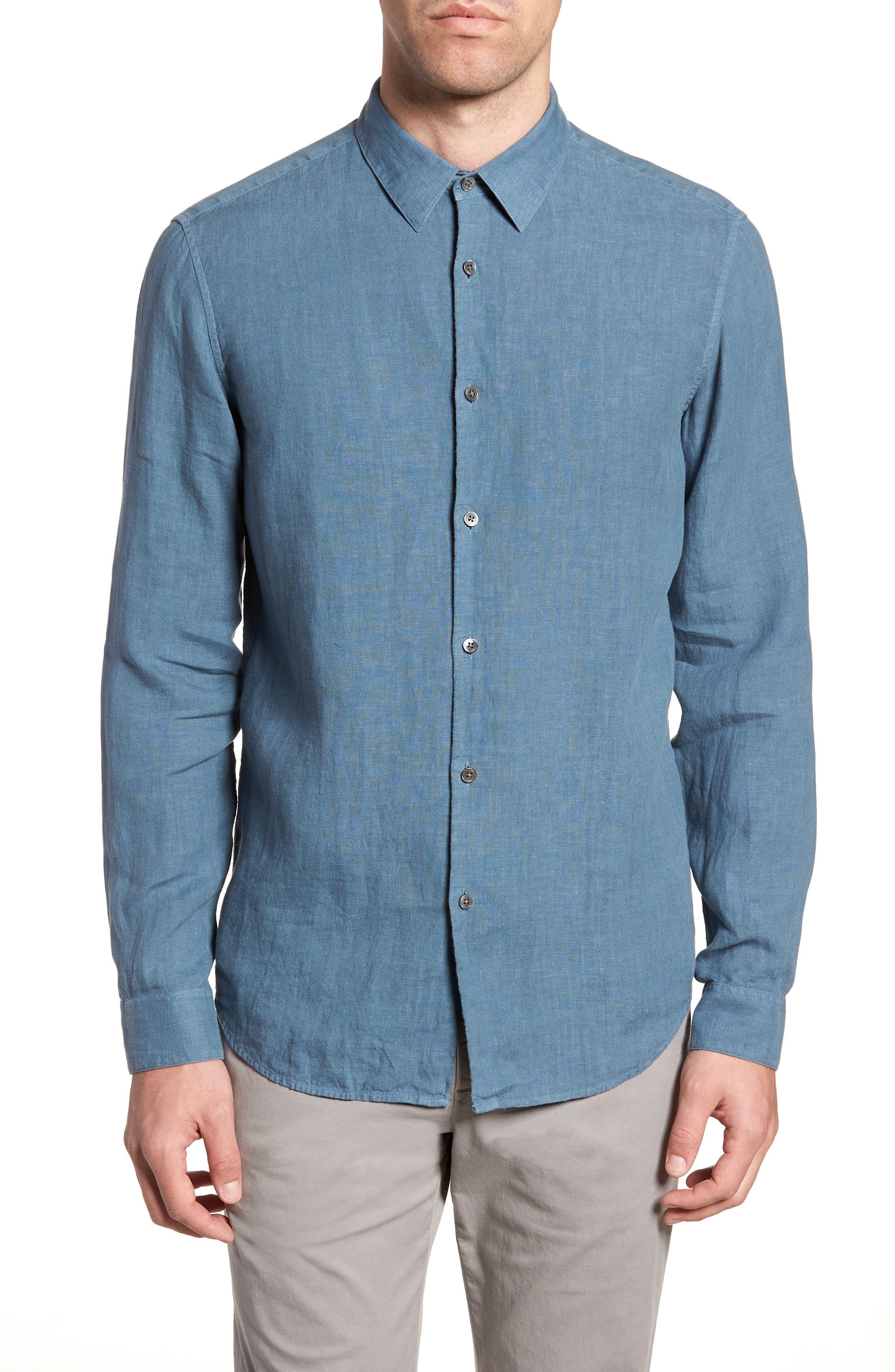 Irving Trim Fit Solid Linen Sport Shirt,                         Main,                         color, Hydro