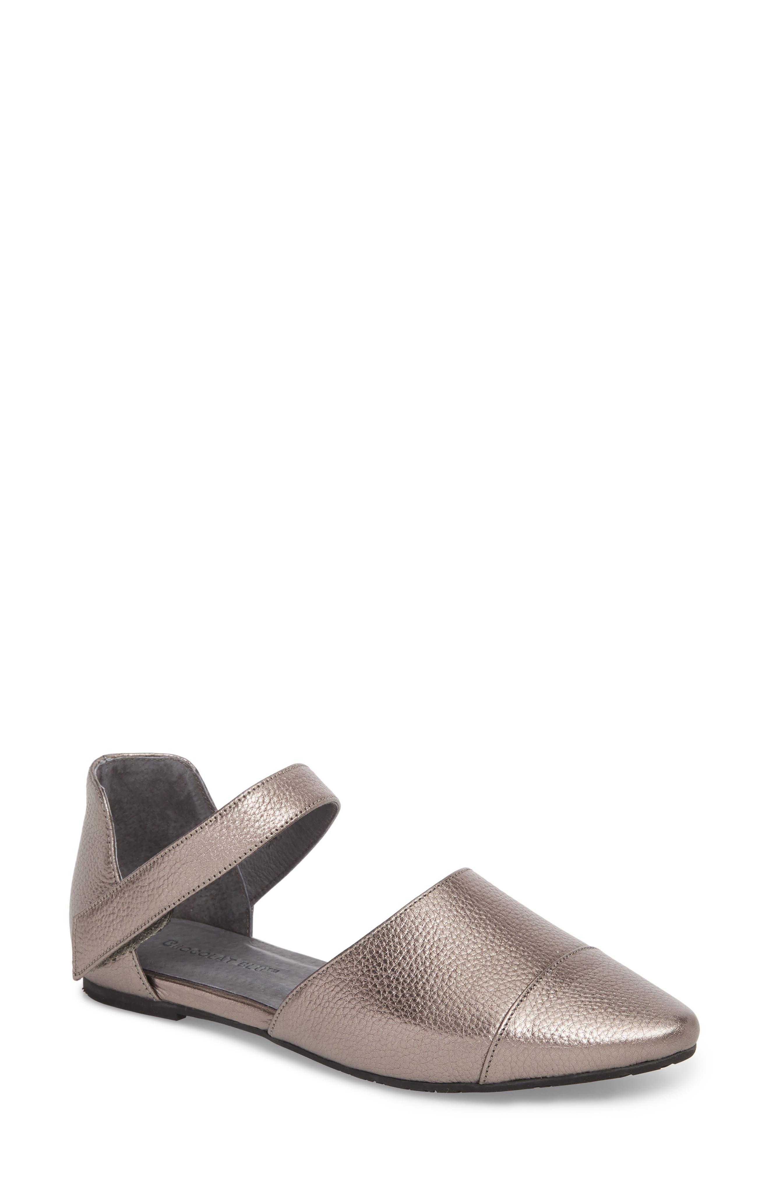 Gaia Pointy Toe Flat,                         Main,                         color, Gunmetal Leather