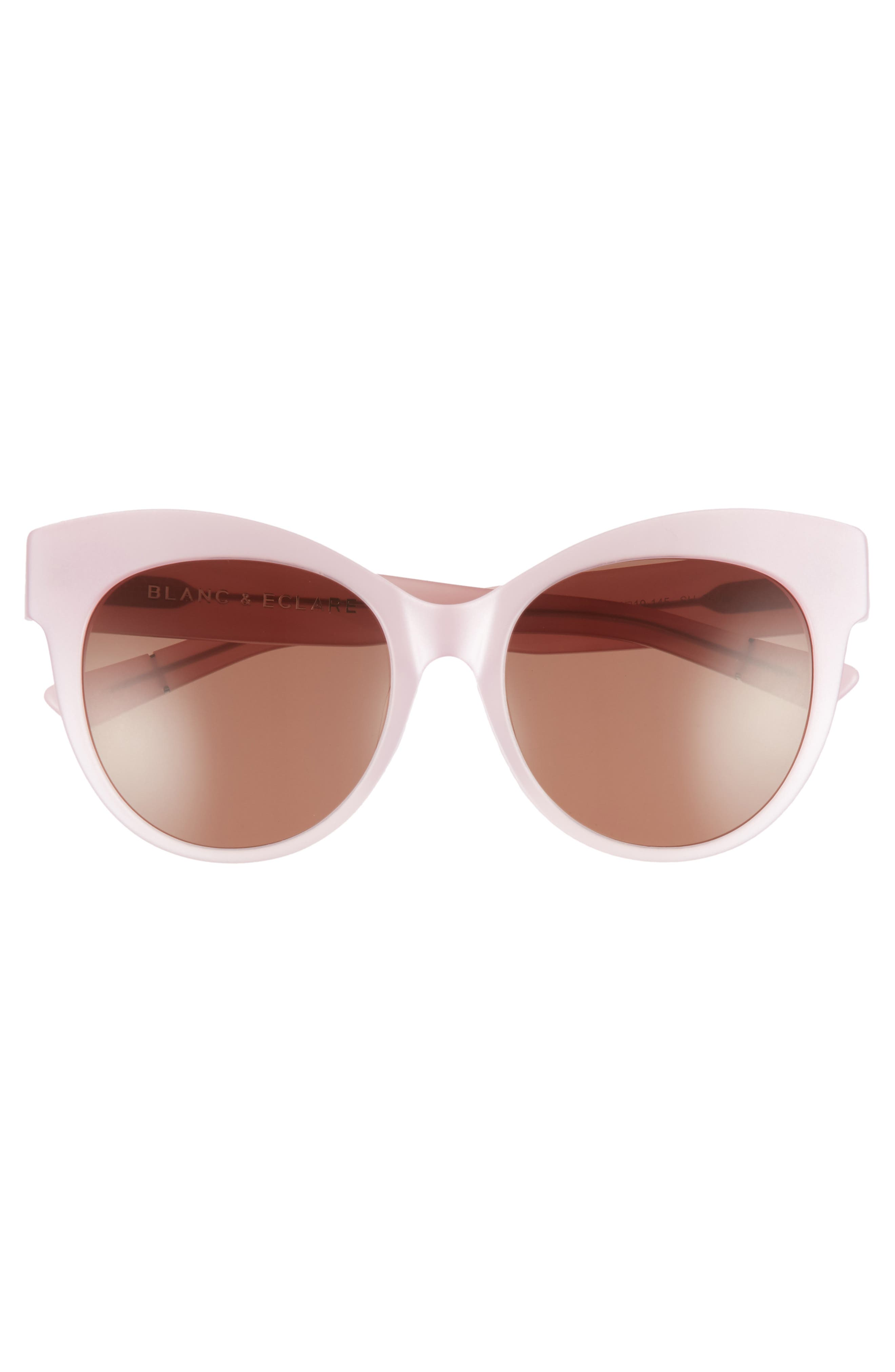BLANC & ECLARE Paris 55mm Polarized Cat Eye Sunglasses,                             Alternate thumbnail 3, color,                             Blush