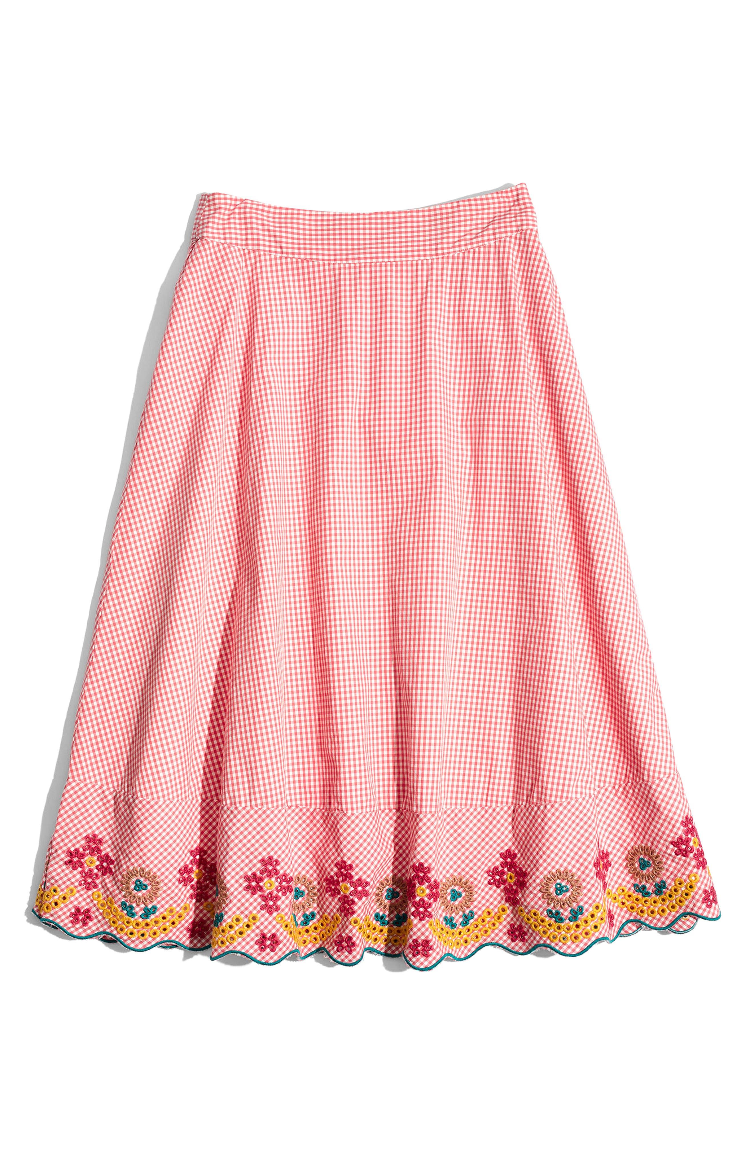 Embroidered Gingham Circle Skirt,                             Alternate thumbnail 4, color,                             Gingham Sunset