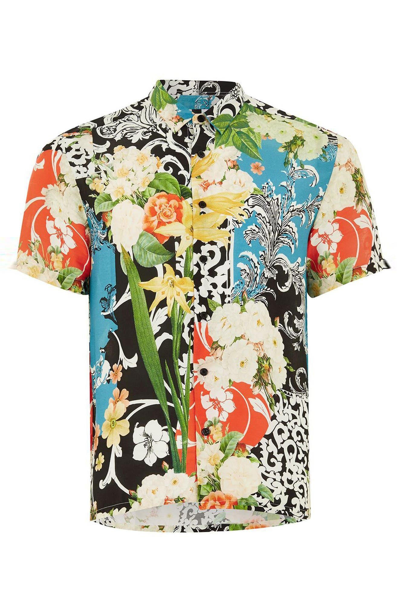 Floral Print Shirt,                         Main,                         color, Black Multi