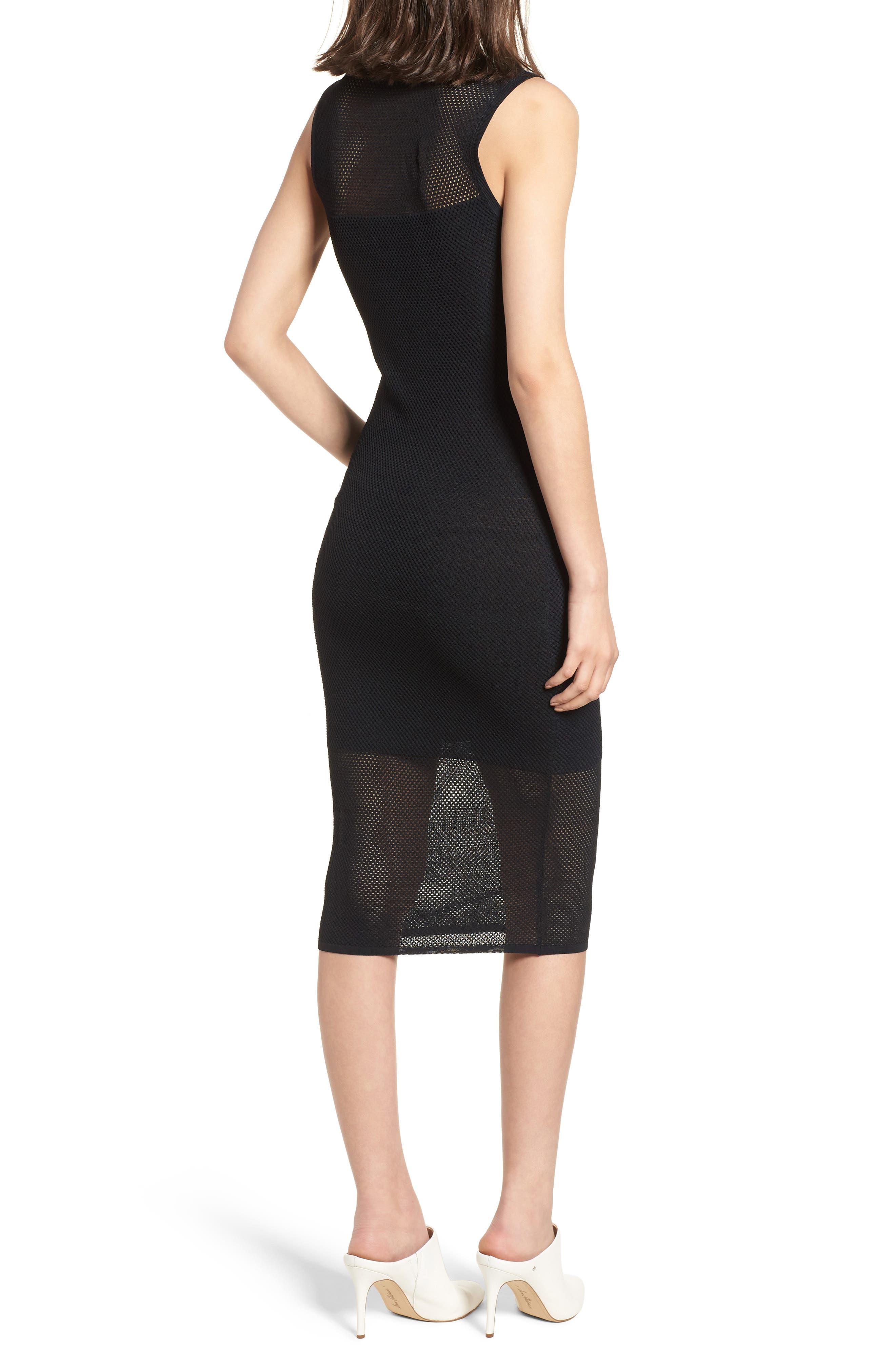 Stripe Mesh Midi Dress,                             Alternate thumbnail 2, color,                             Black